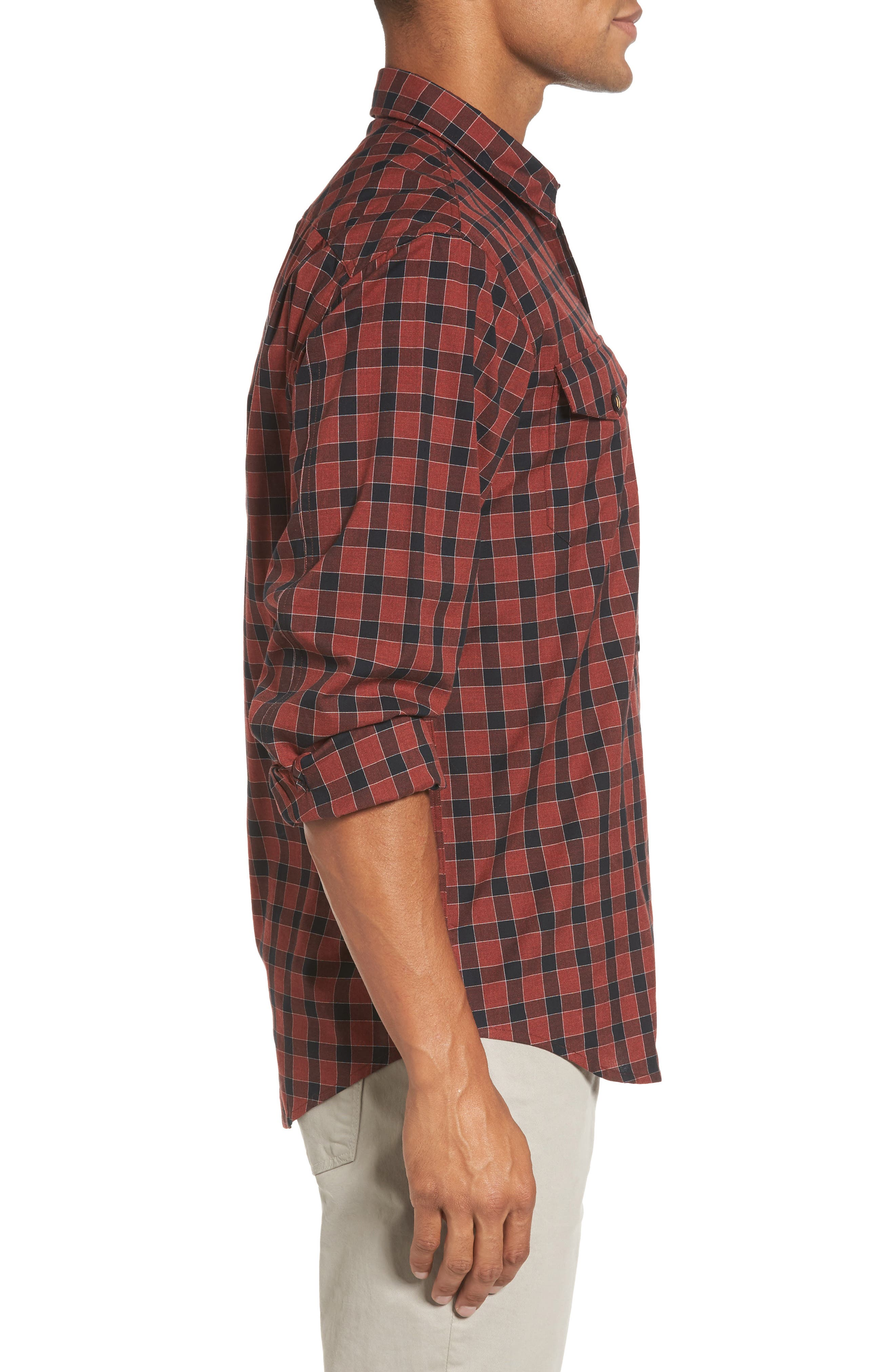 Lake Plaid Flannel Shirt,                             Alternate thumbnail 3, color,                             Red