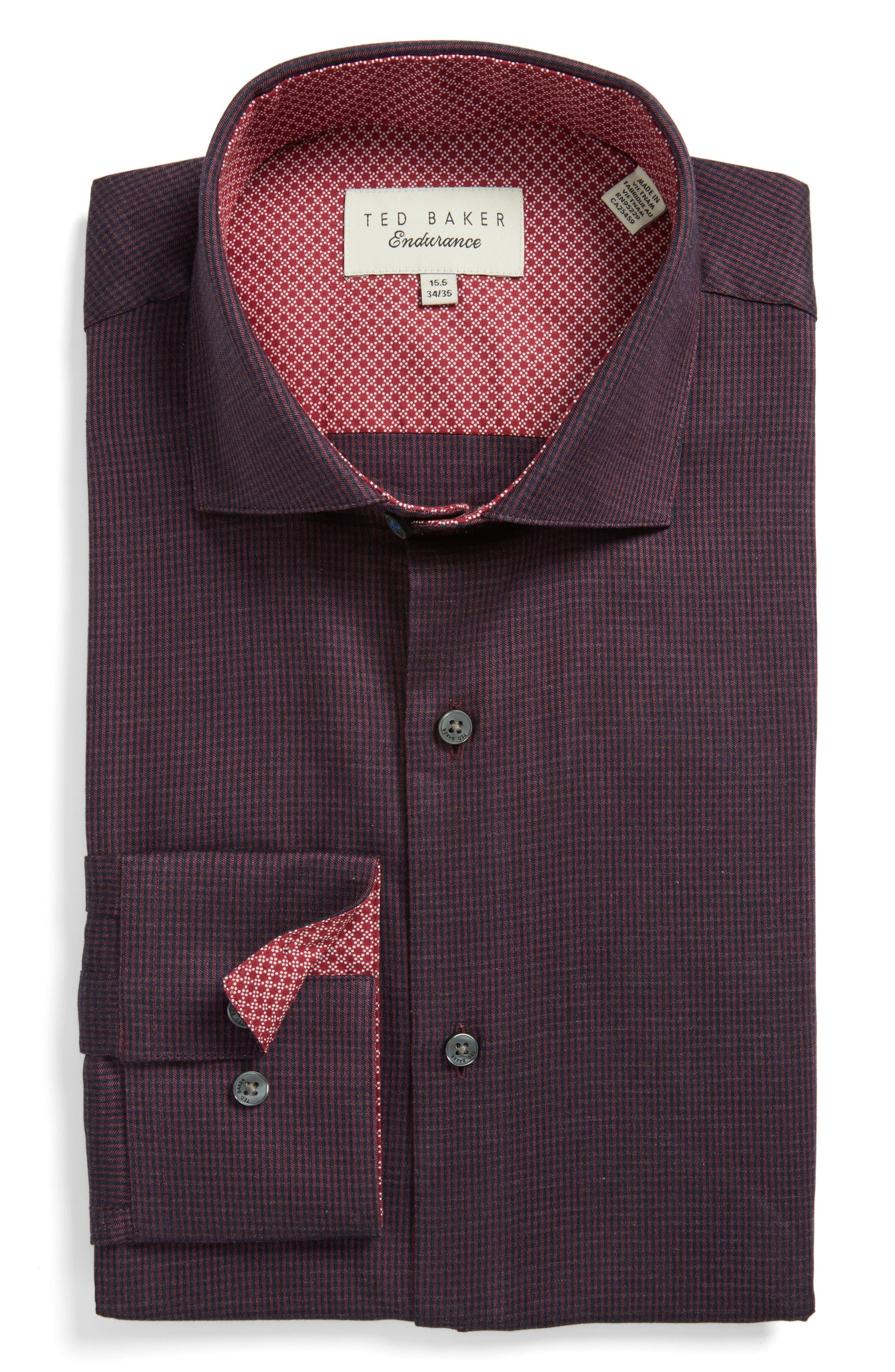 Endurance Trim Fit Pattern Dress Shirt,                         Main,                         color, Red