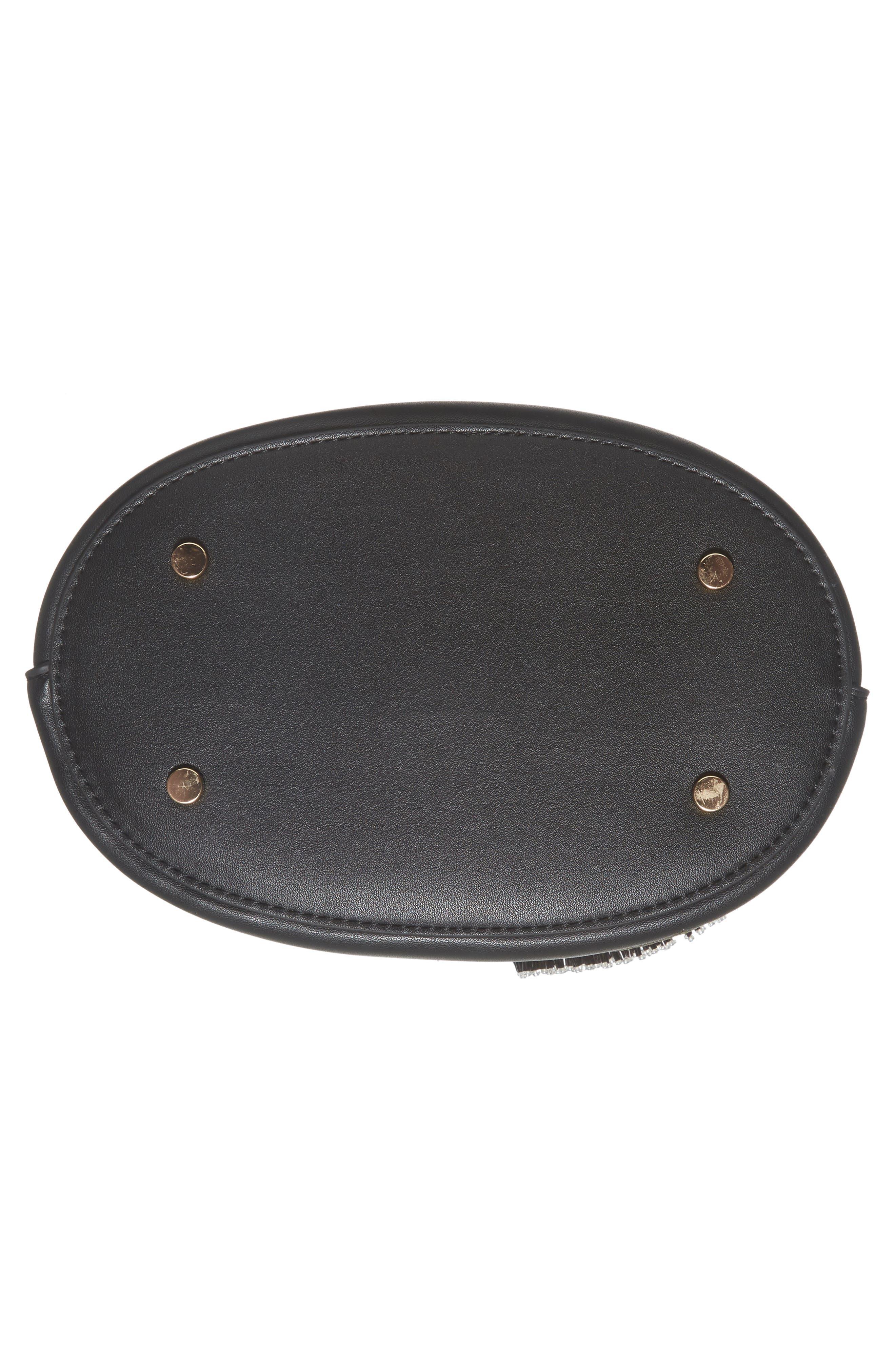 Sadie Floral Faux Leather Bucket Bag,                             Alternate thumbnail 6, color,                             Black Multi