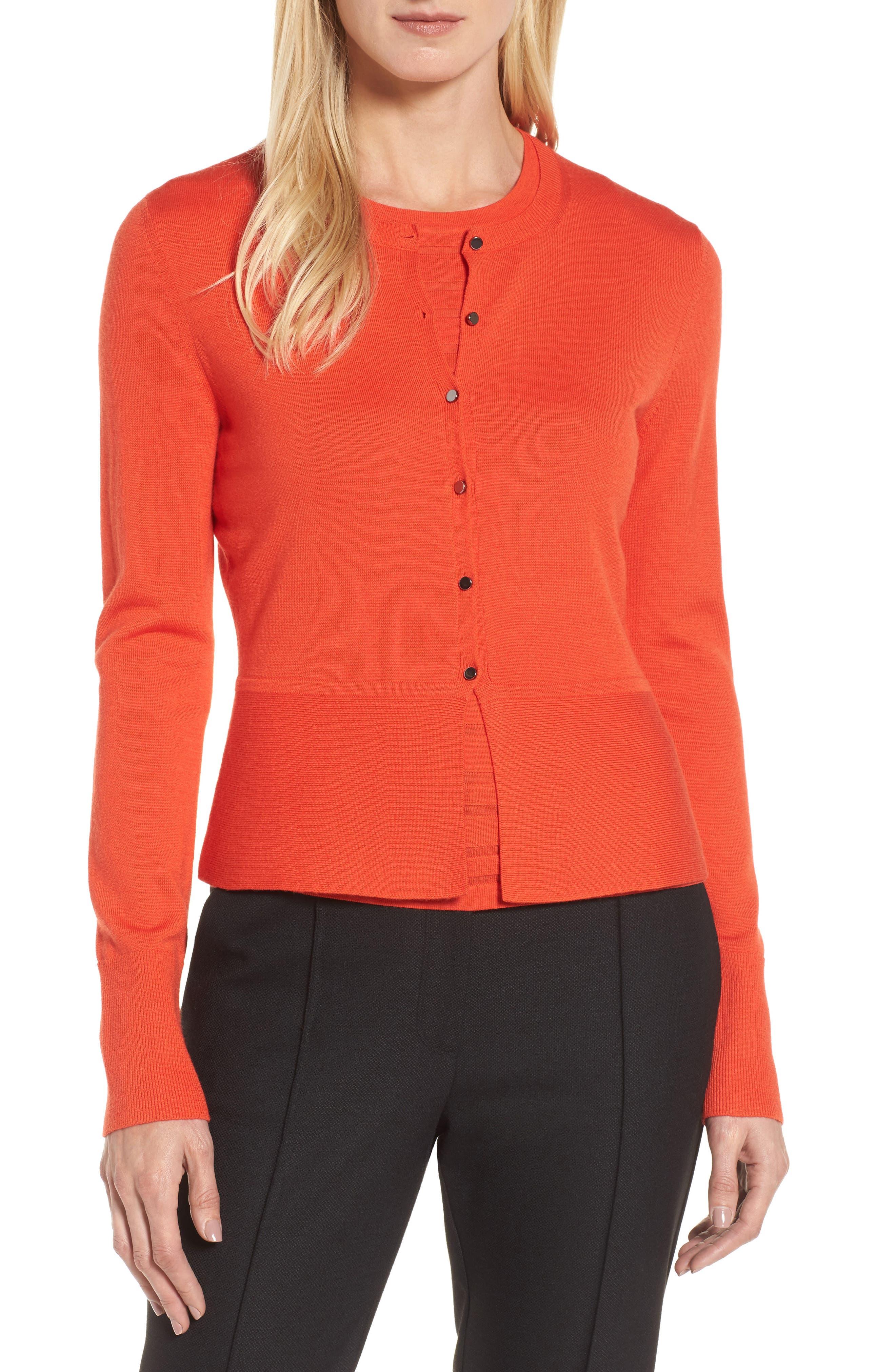 Felija Wool Button Cardigan,                         Main,                         color, Vermillion