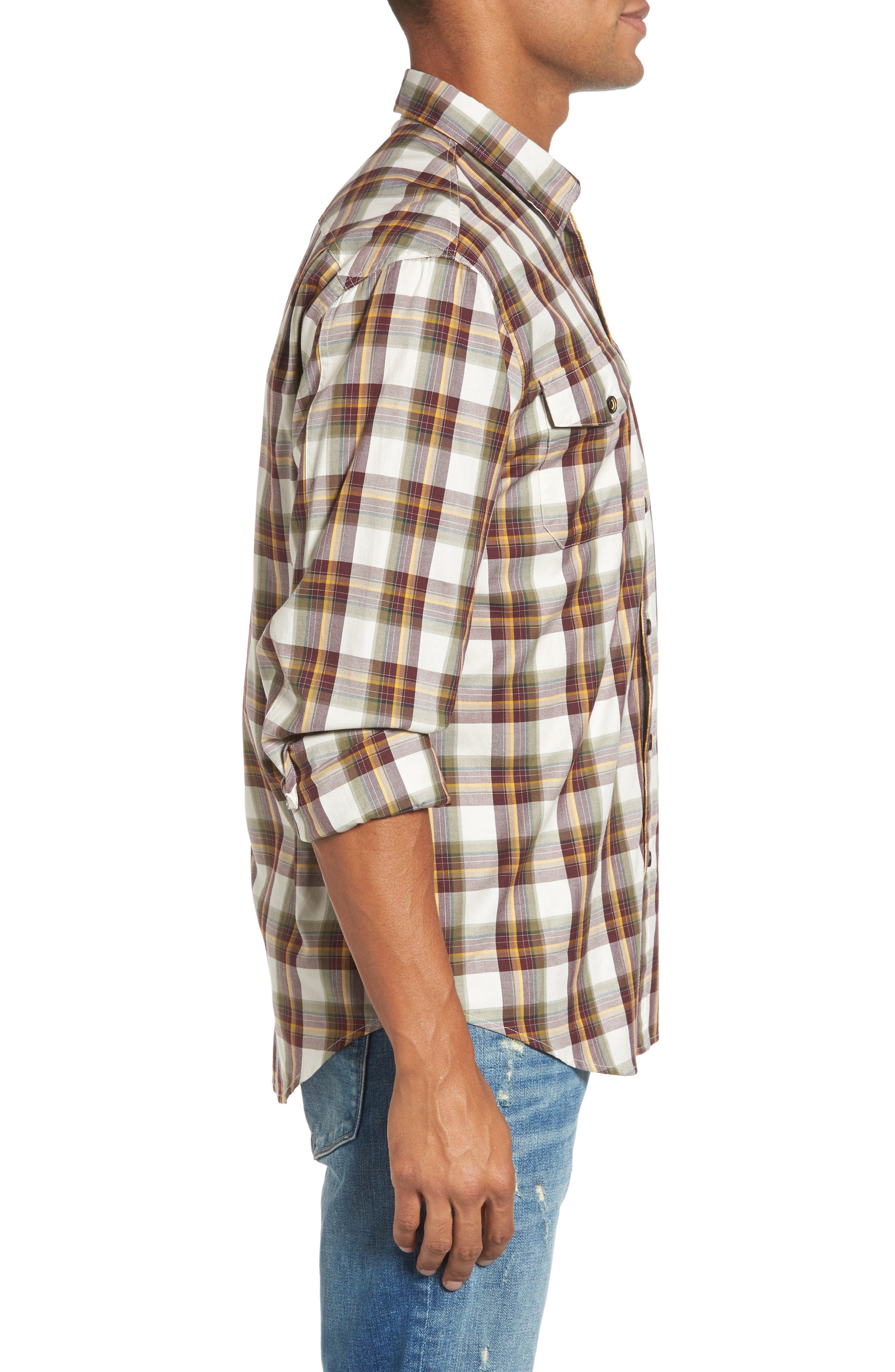 Seacliff Plaid Flannel Shirt,                             Alternate thumbnail 3, color,                             Merlot