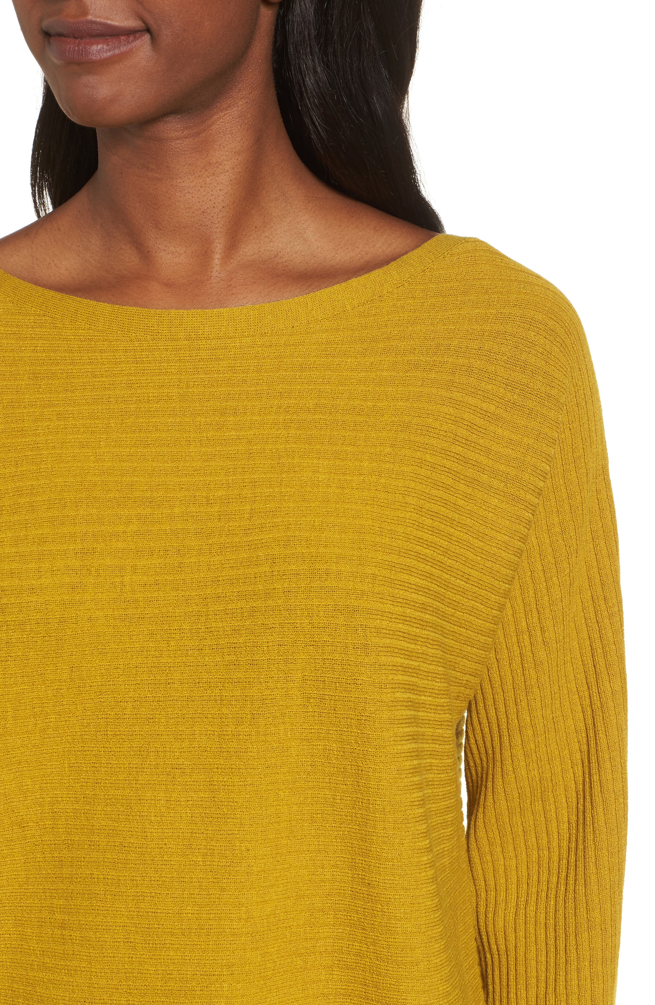 Boxy Ribbed Wool Sweater,                             Alternate thumbnail 5, color,                             Mustard Seed