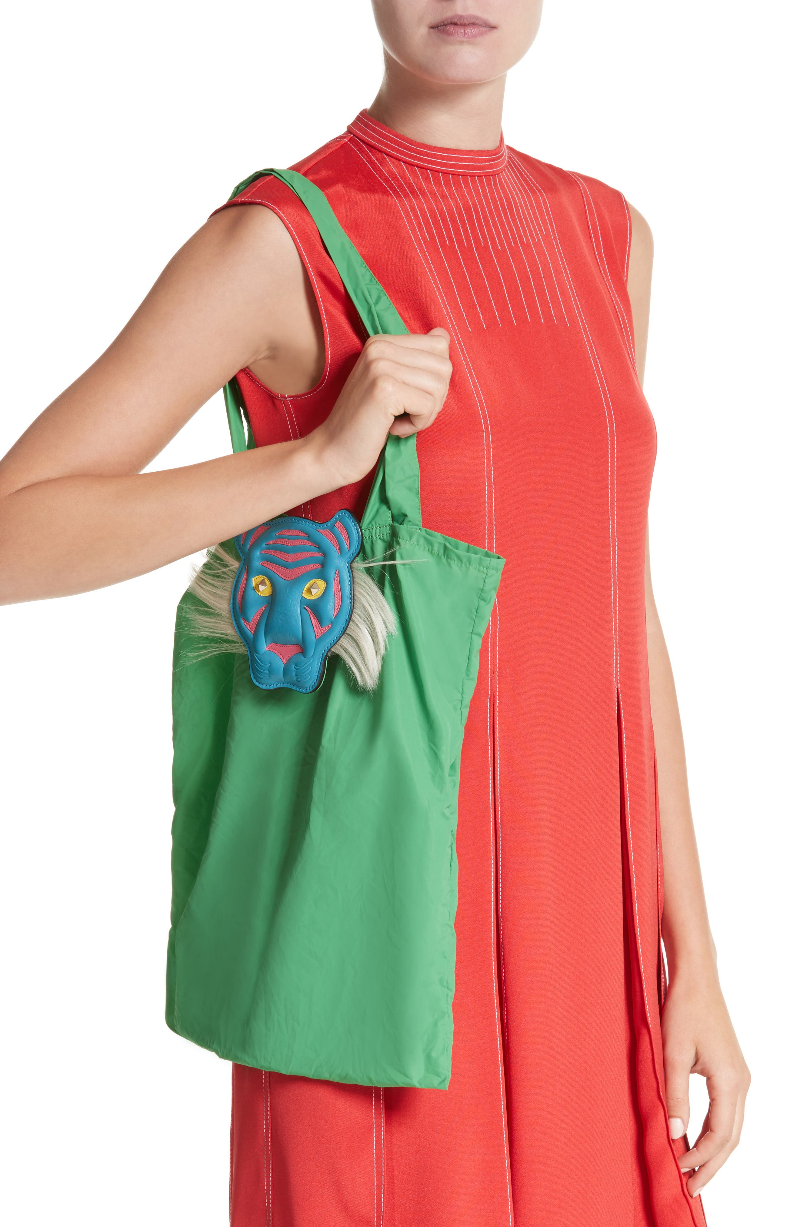Nylon Tote with Genuine Goat Fur & Leather Bag Charm,                             Alternate thumbnail 2, color,                             Green Multi