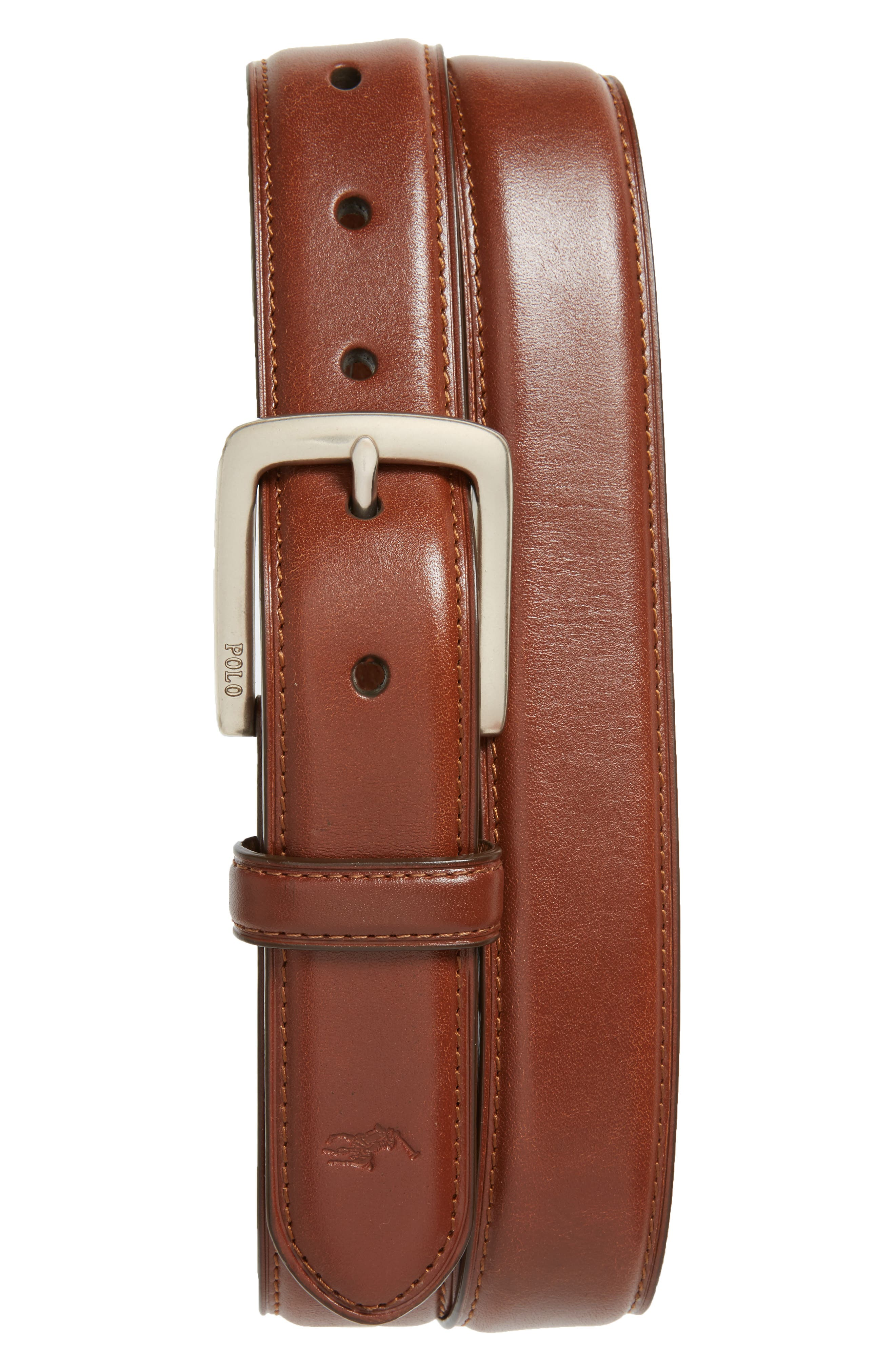 Suffield Leather Belt,                         Main,                         color, Tan