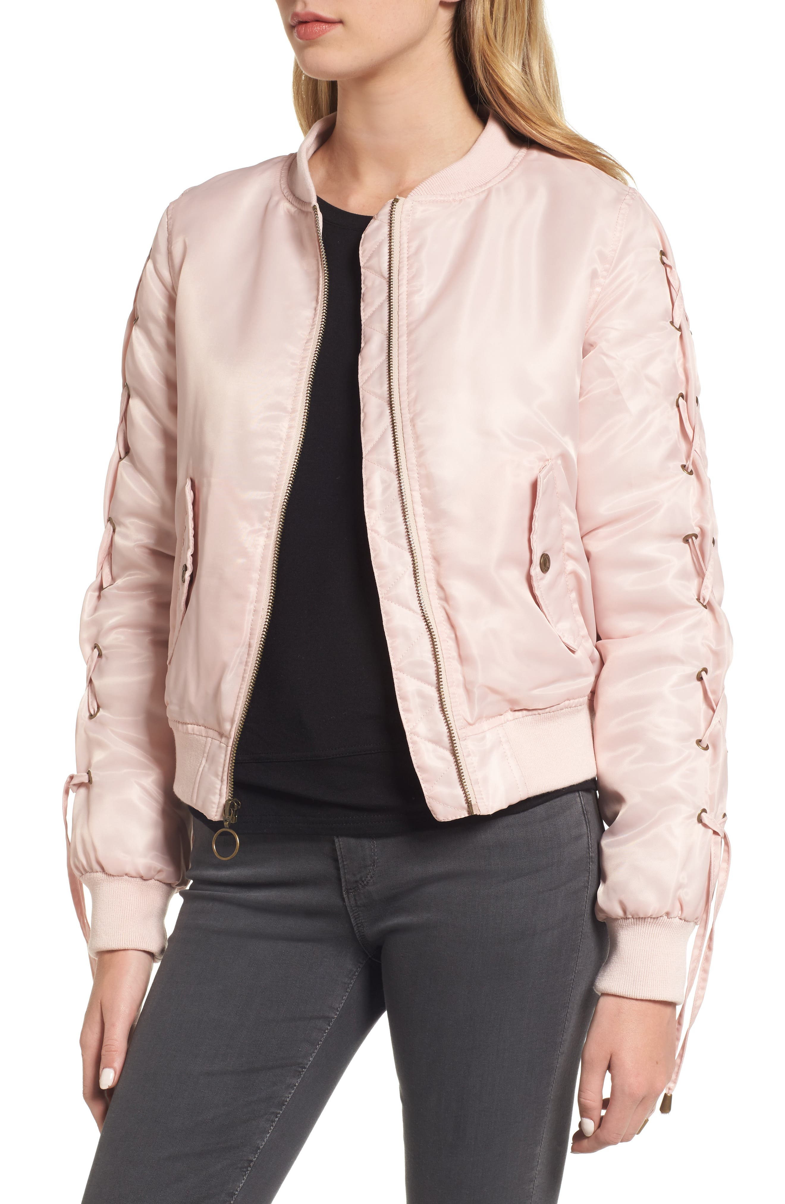 Lace-Up Sleeve Quilted Bomber Jacket,                             Alternate thumbnail 4, color,                             Blush