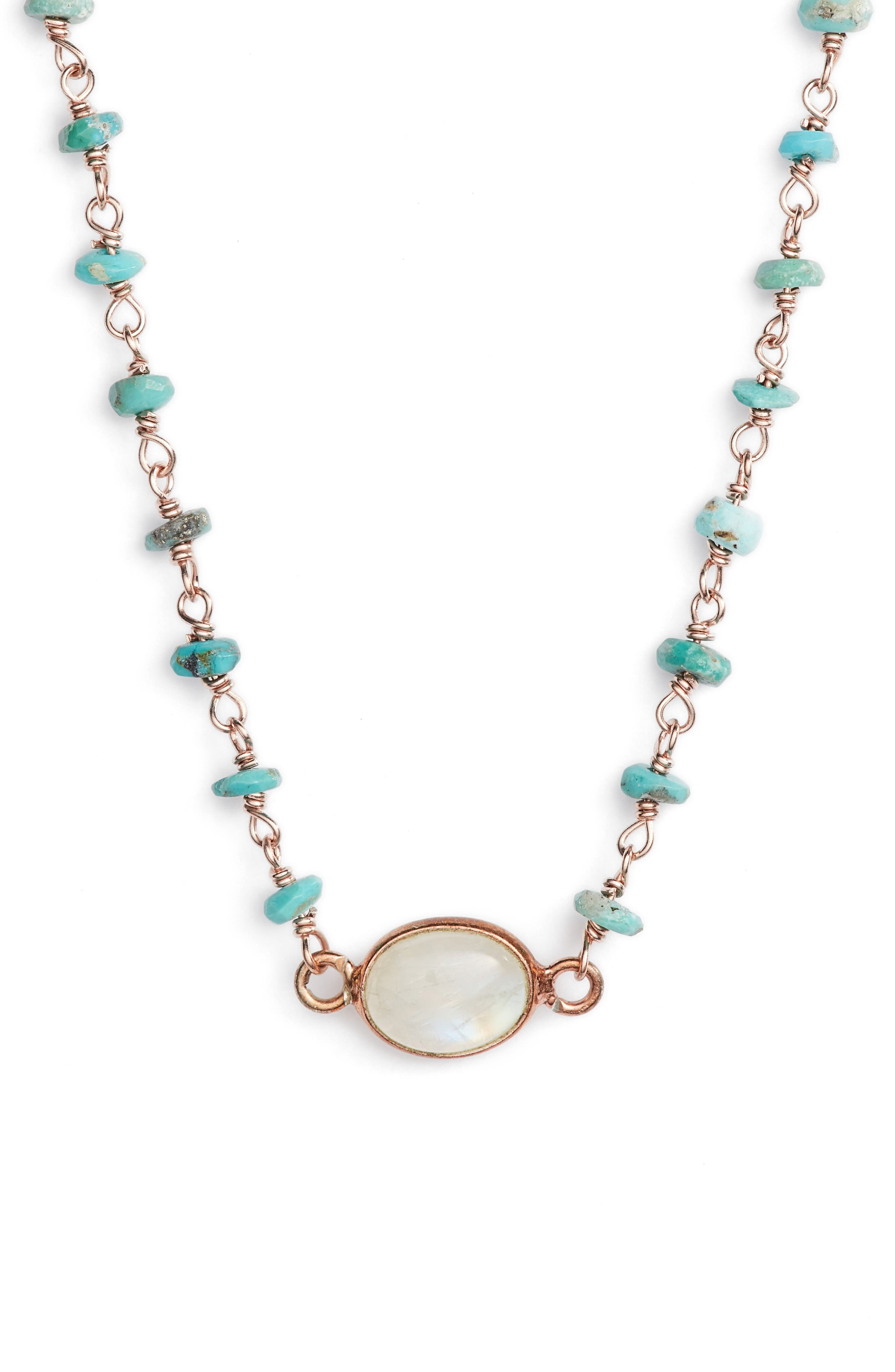 Semiprecious Stone Collar Necklace,                             Main thumbnail 1, color,                             Turquoise/ Moonstone