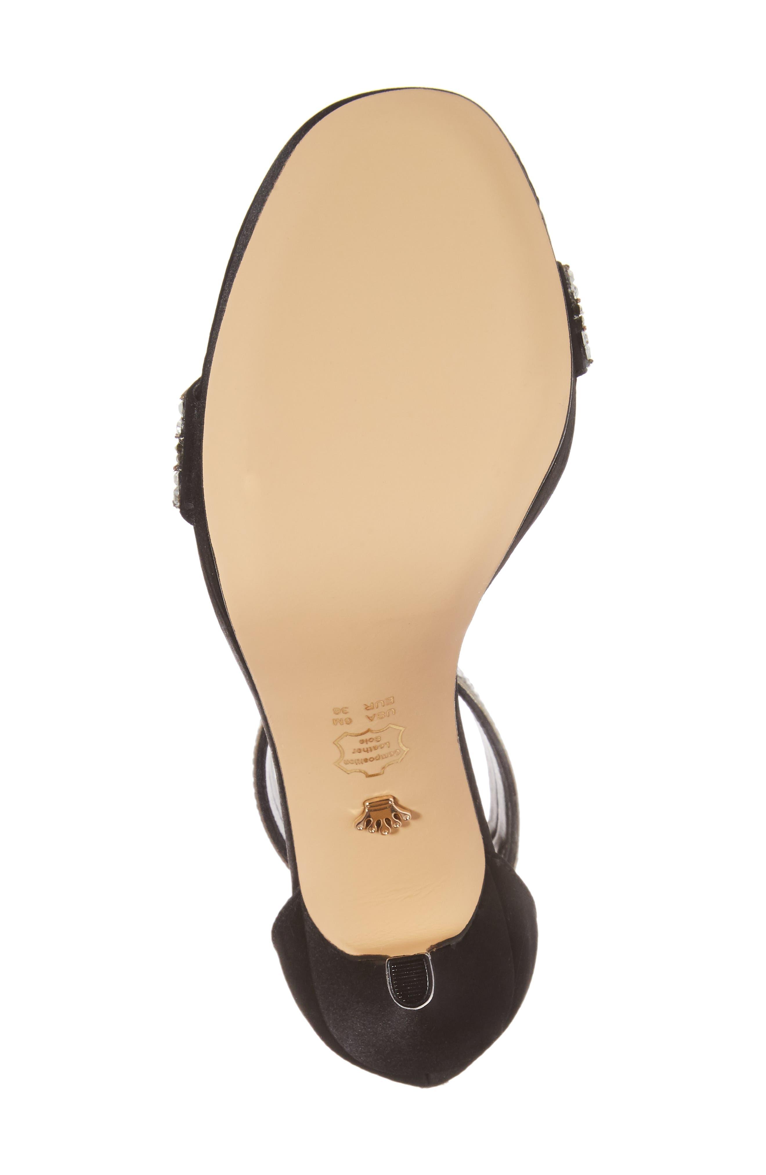 Aubrie Ankle Strap Sandal,                             Alternate thumbnail 6, color,                             Black Satin