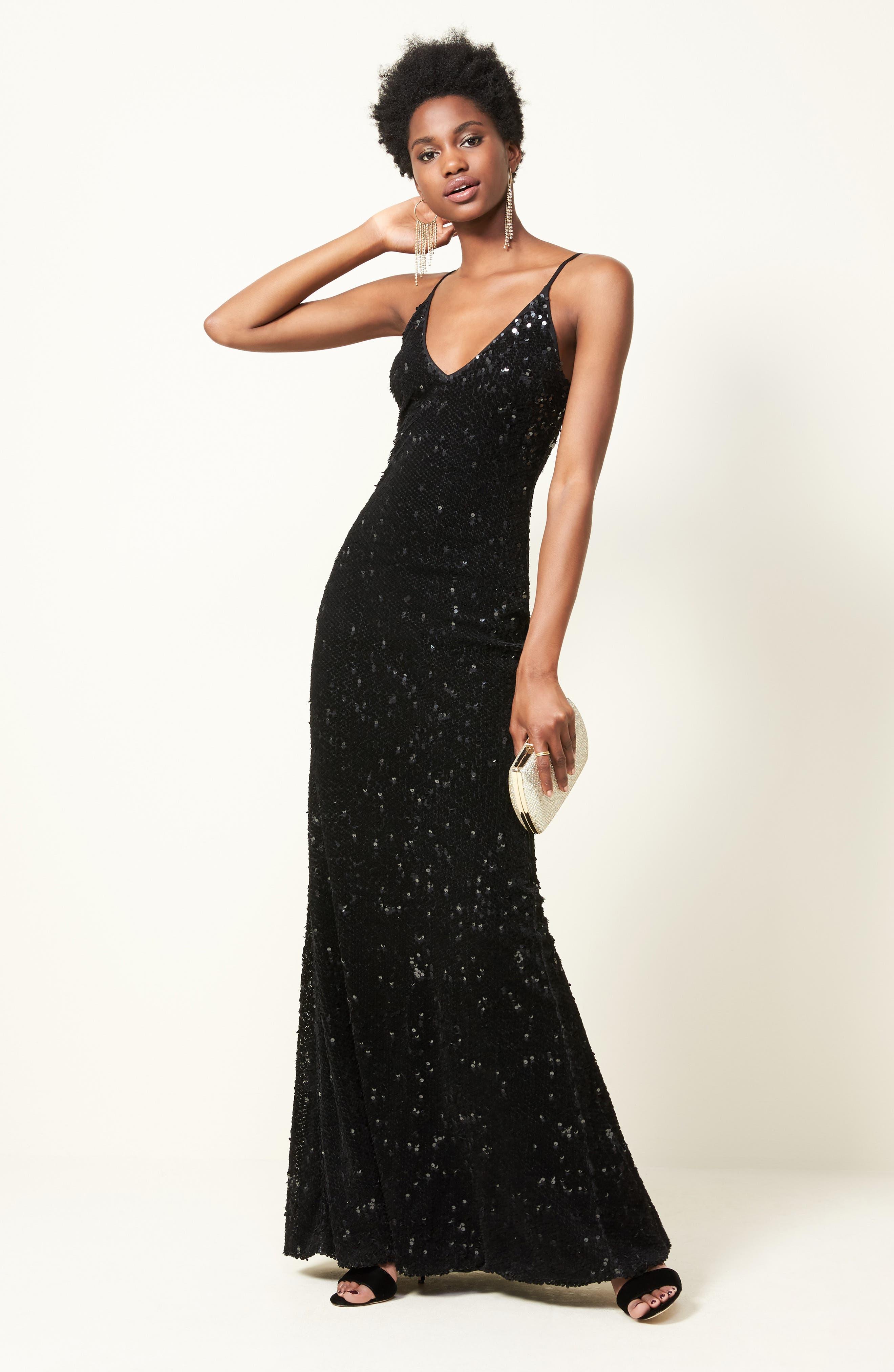 Vanessa Velvet Sequin Gown,                             Alternate thumbnail 8, color,                             Black