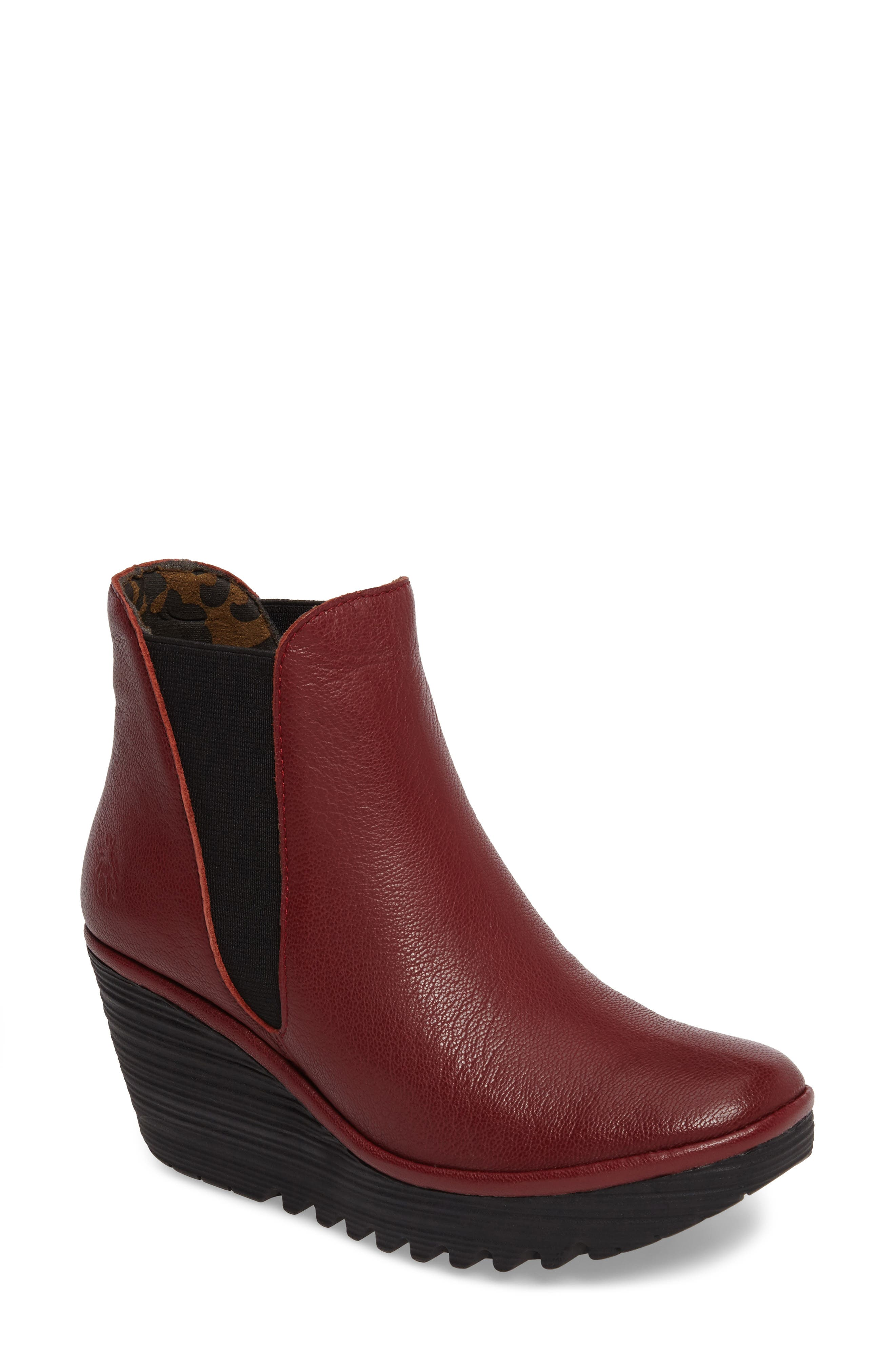Yoss Wedge Bootie,                             Main thumbnail 1, color,                             Cordoba Red Leather