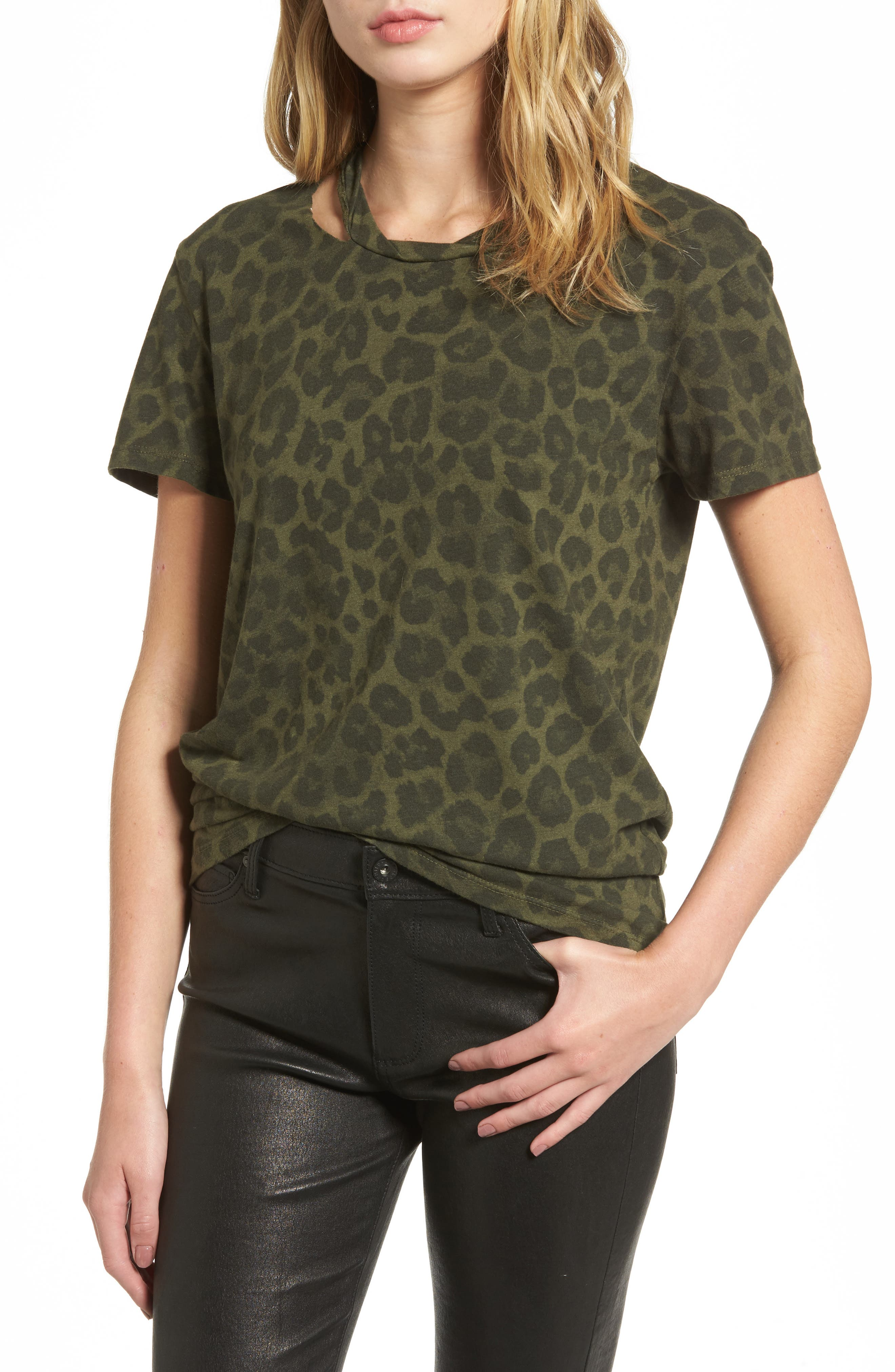 Leopard Print Tee,                         Main,                         color, Olive