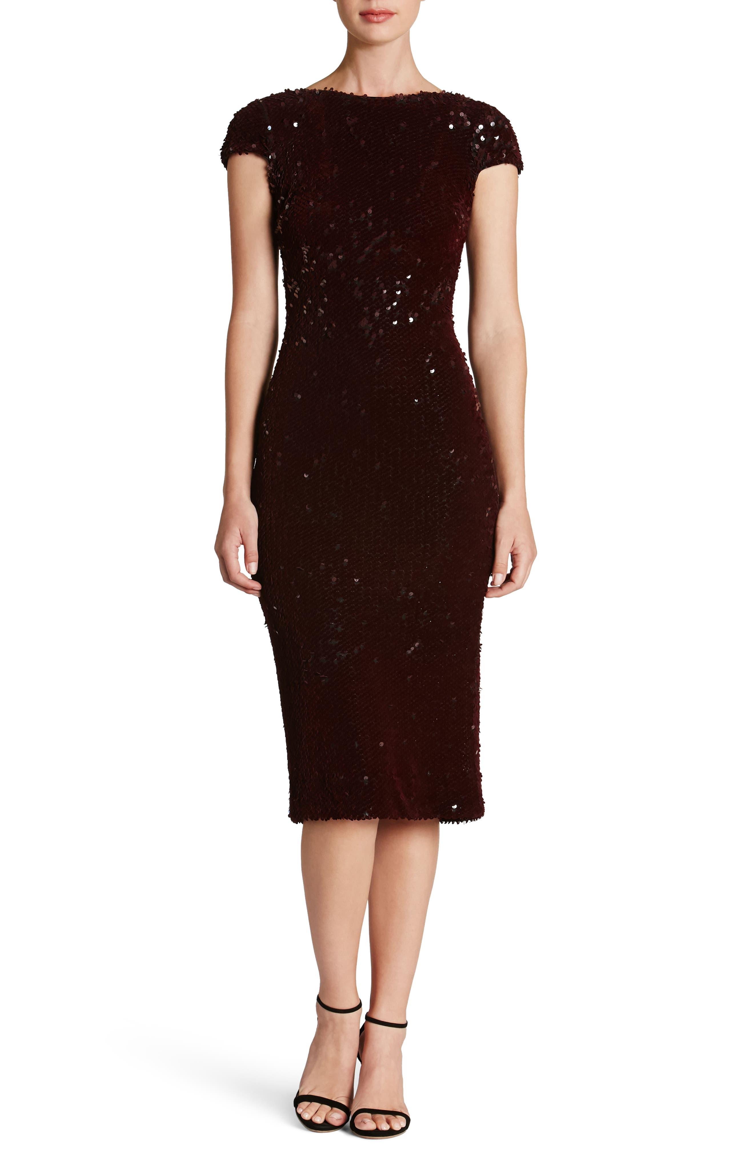 Marcella Sequin Body-Con Dress,                         Main,                         color, Burgundy