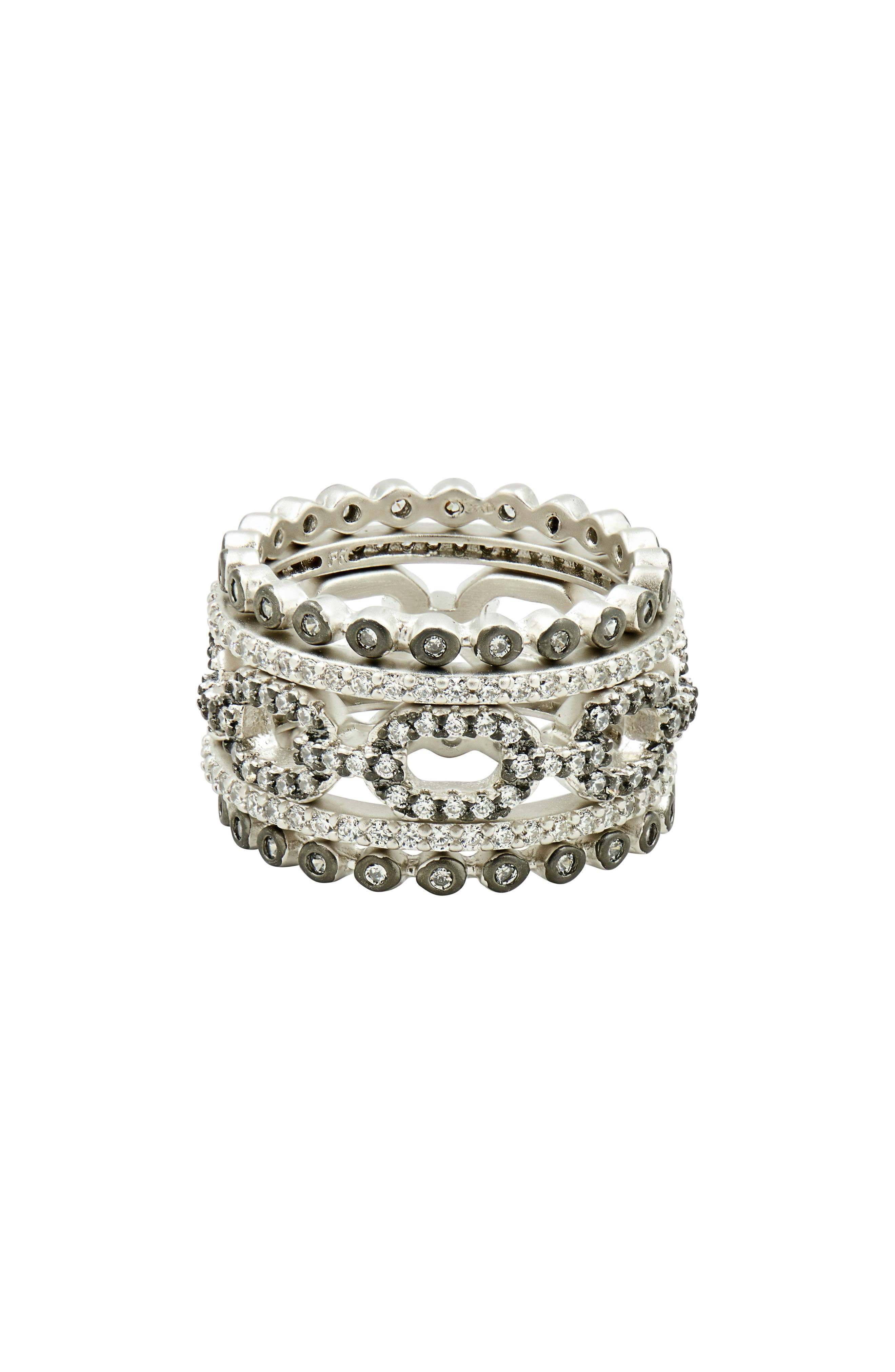 Set of 5 Stacking Rings,                         Main,                         color, Black/ Silver