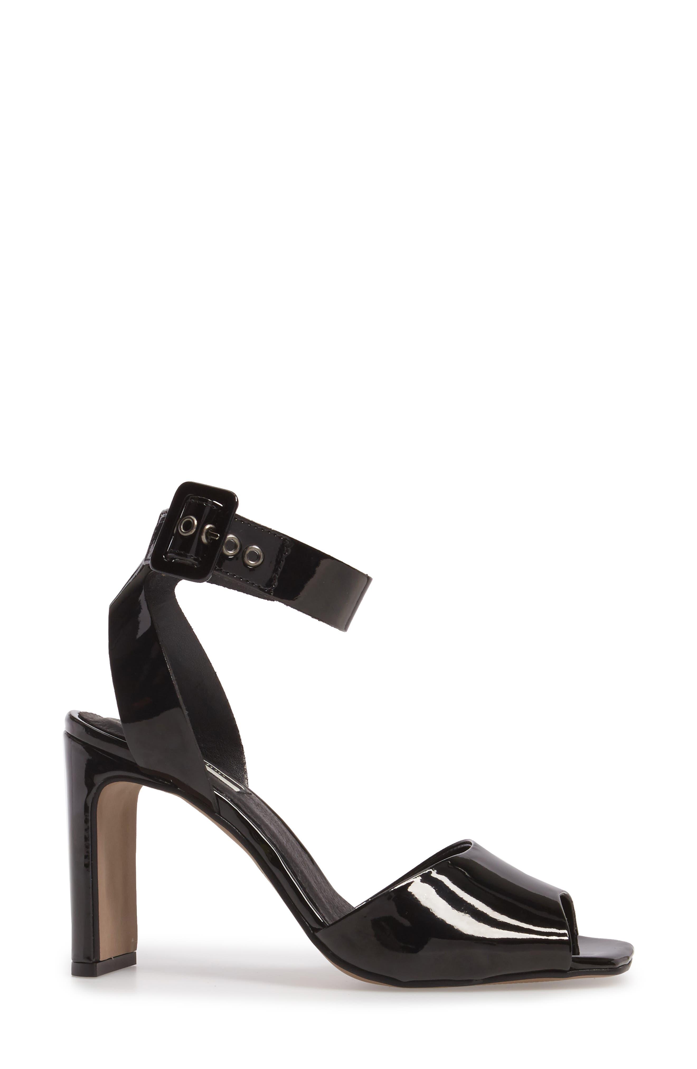 Roux Square Toe Sandal,                             Alternate thumbnail 3, color,                             Black