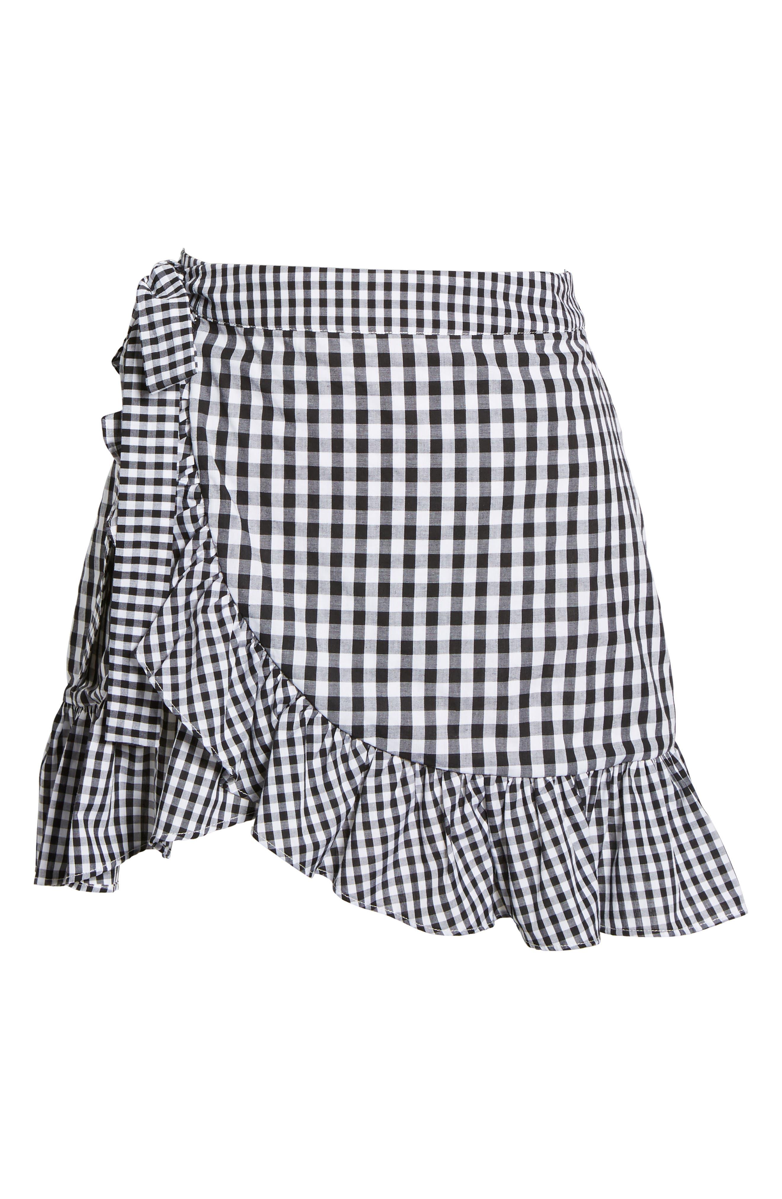 Cinci Wrap Skirt,                             Alternate thumbnail 6, color,                             Black/ White
