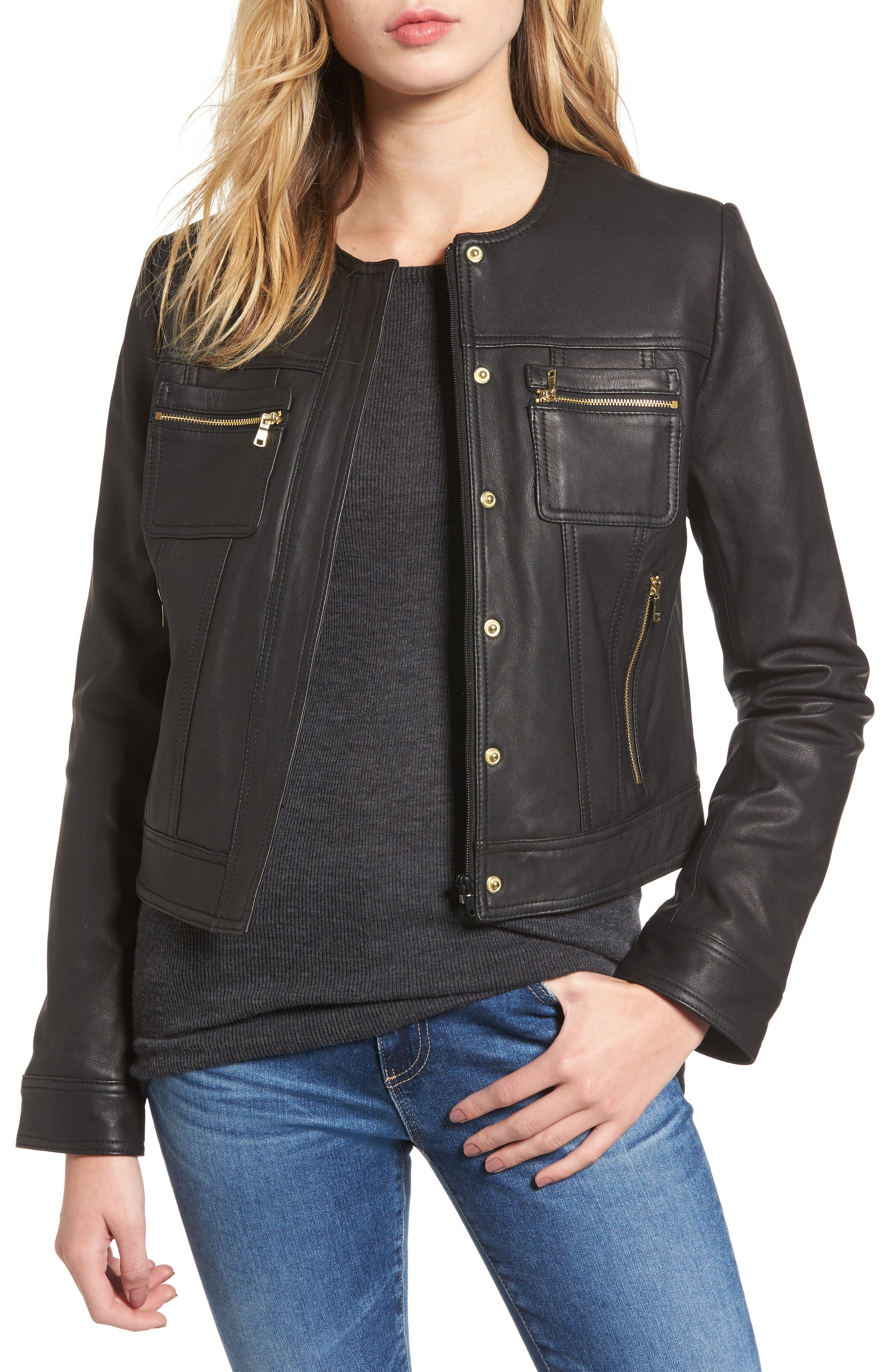 Cole Haan Signature Crop Collarless Jacket