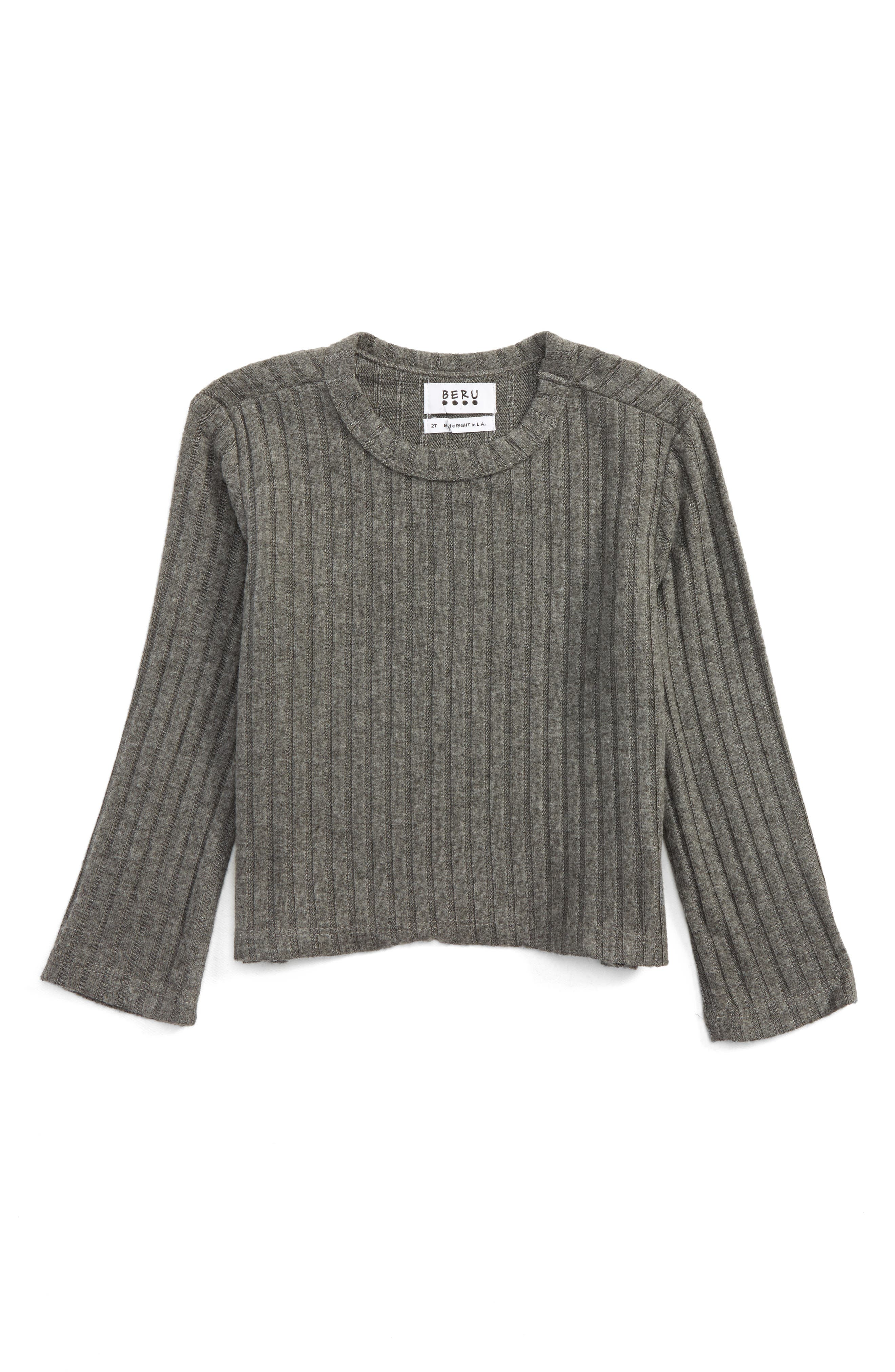 Arielle Ribbed Tee,                         Main,                         color, Light Grey