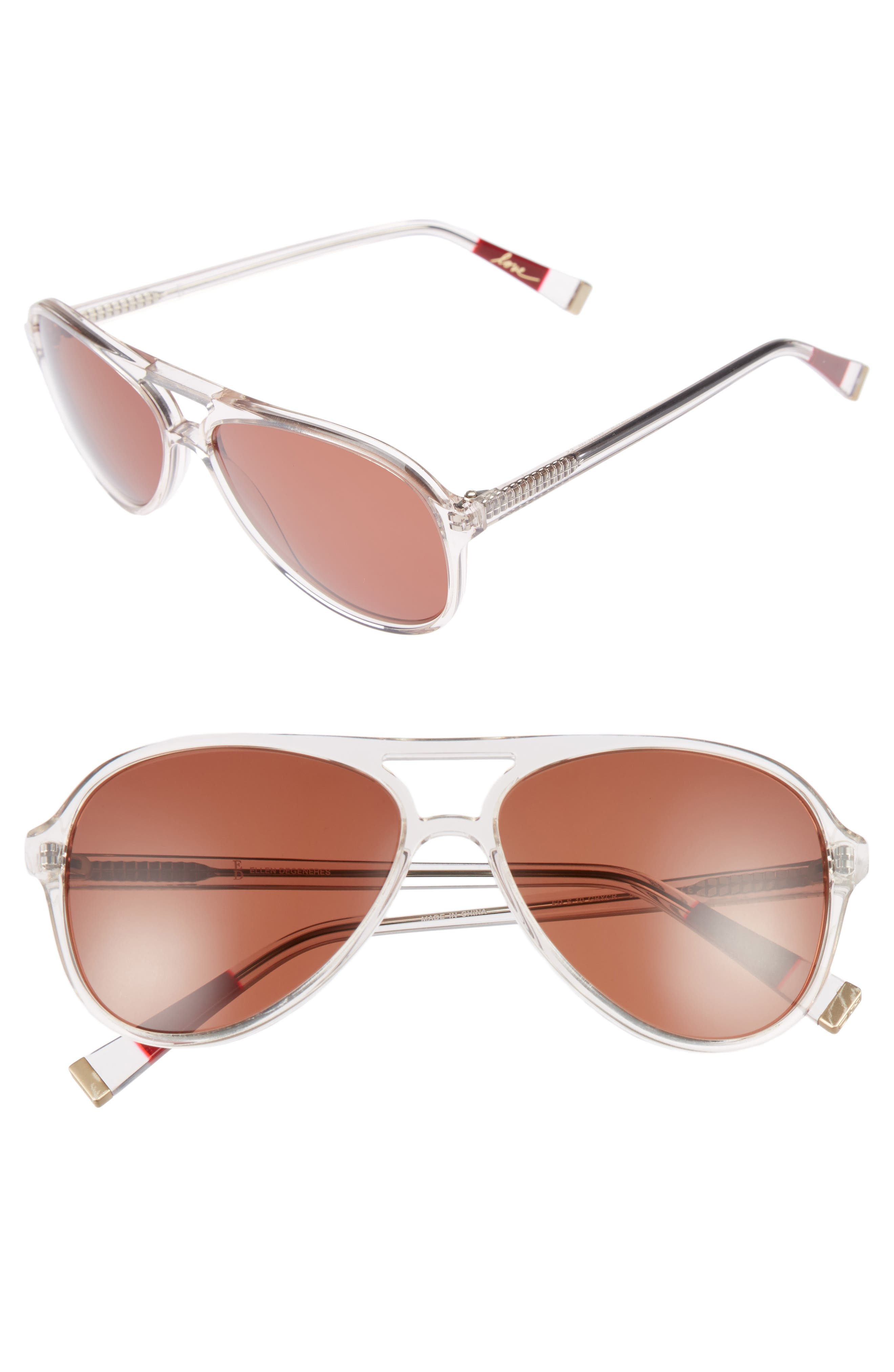 58mm Gradient Aviator Sunglasses,                         Main,                         color, Grey Crystal