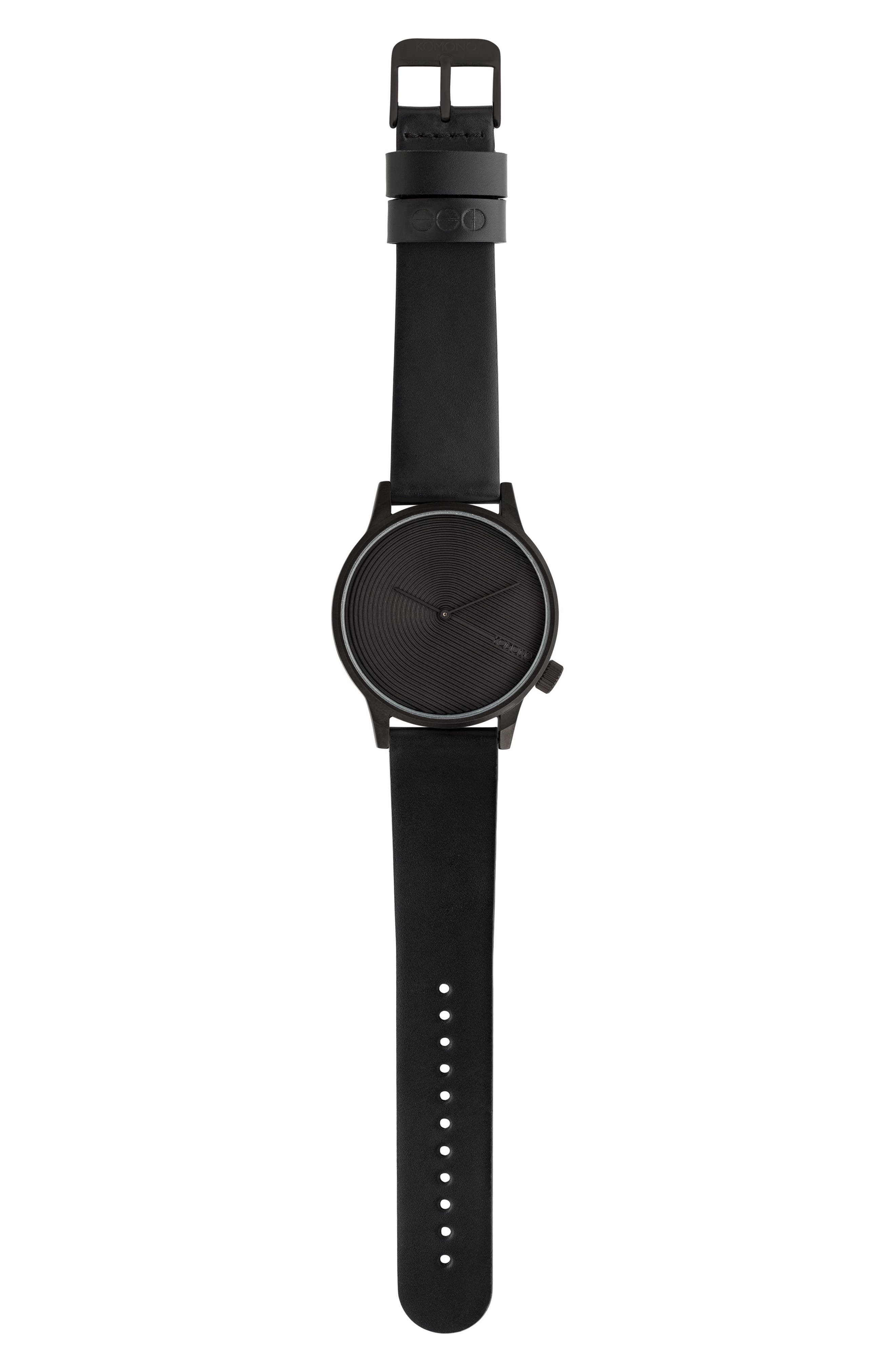 Winston Deco Leather Strap Watch, 41mm,                             Main thumbnail 1, color,                             Onyx/ Onyx