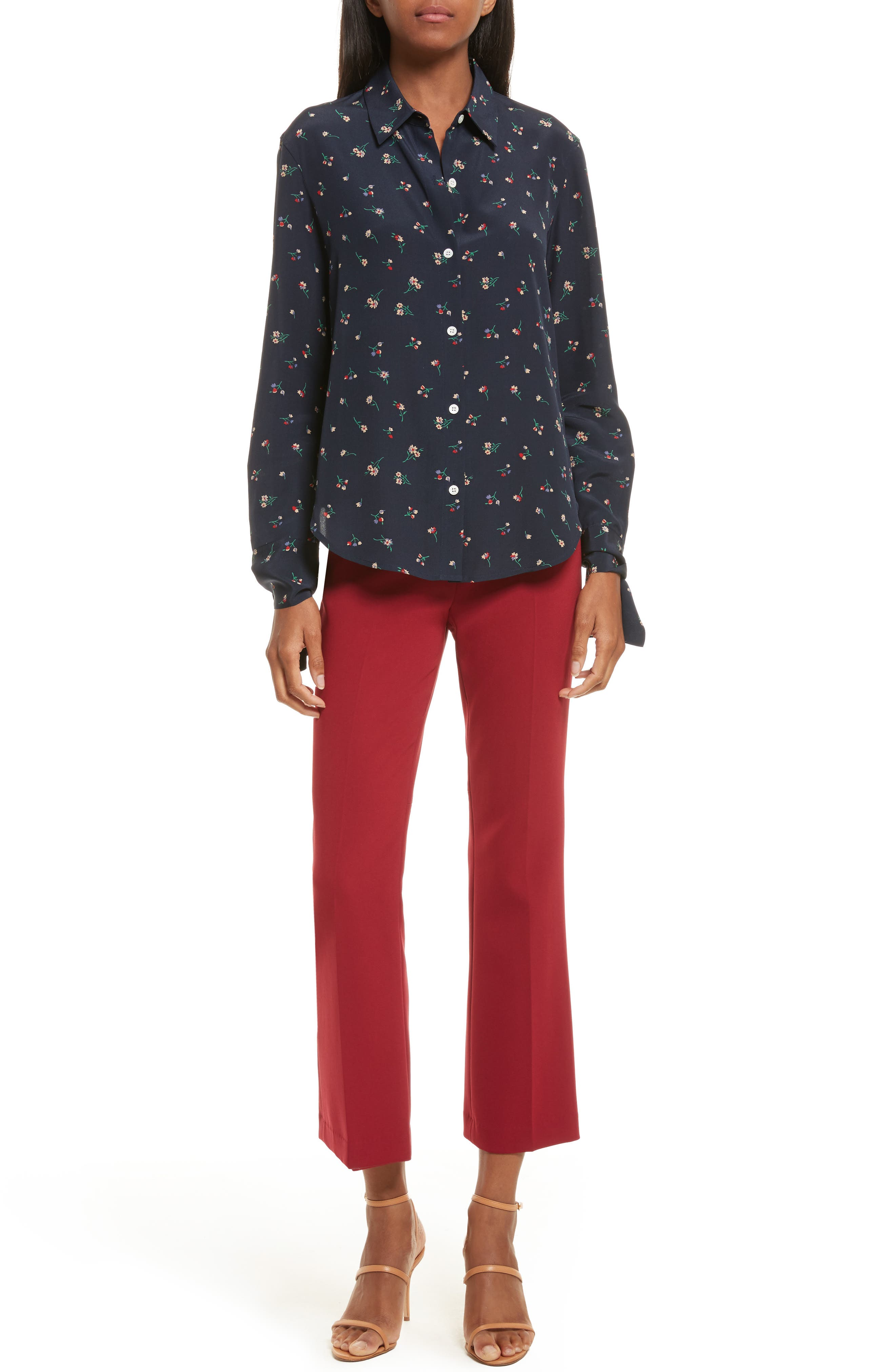 Alternate Image 6  - Theory Tie Cuff Floral Print Silk Shirt
