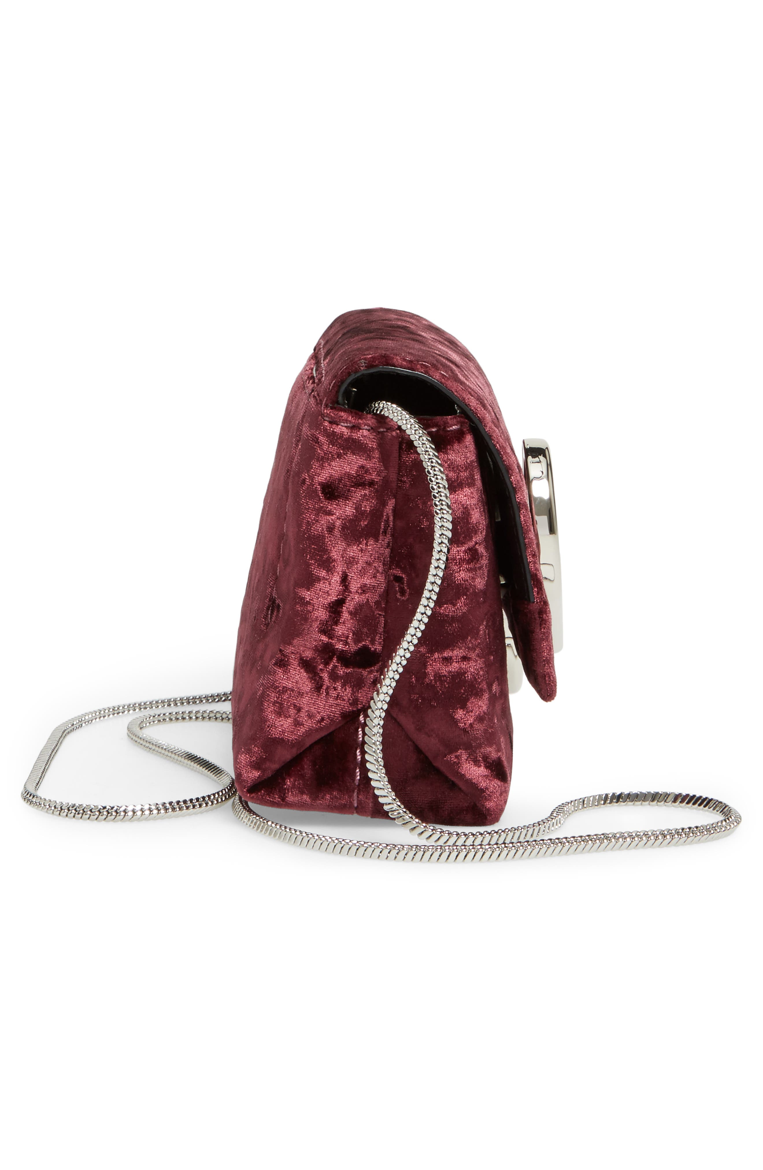 Micro Alix Velvet Crossbody Bag,                             Alternate thumbnail 5, color,                             Syrah