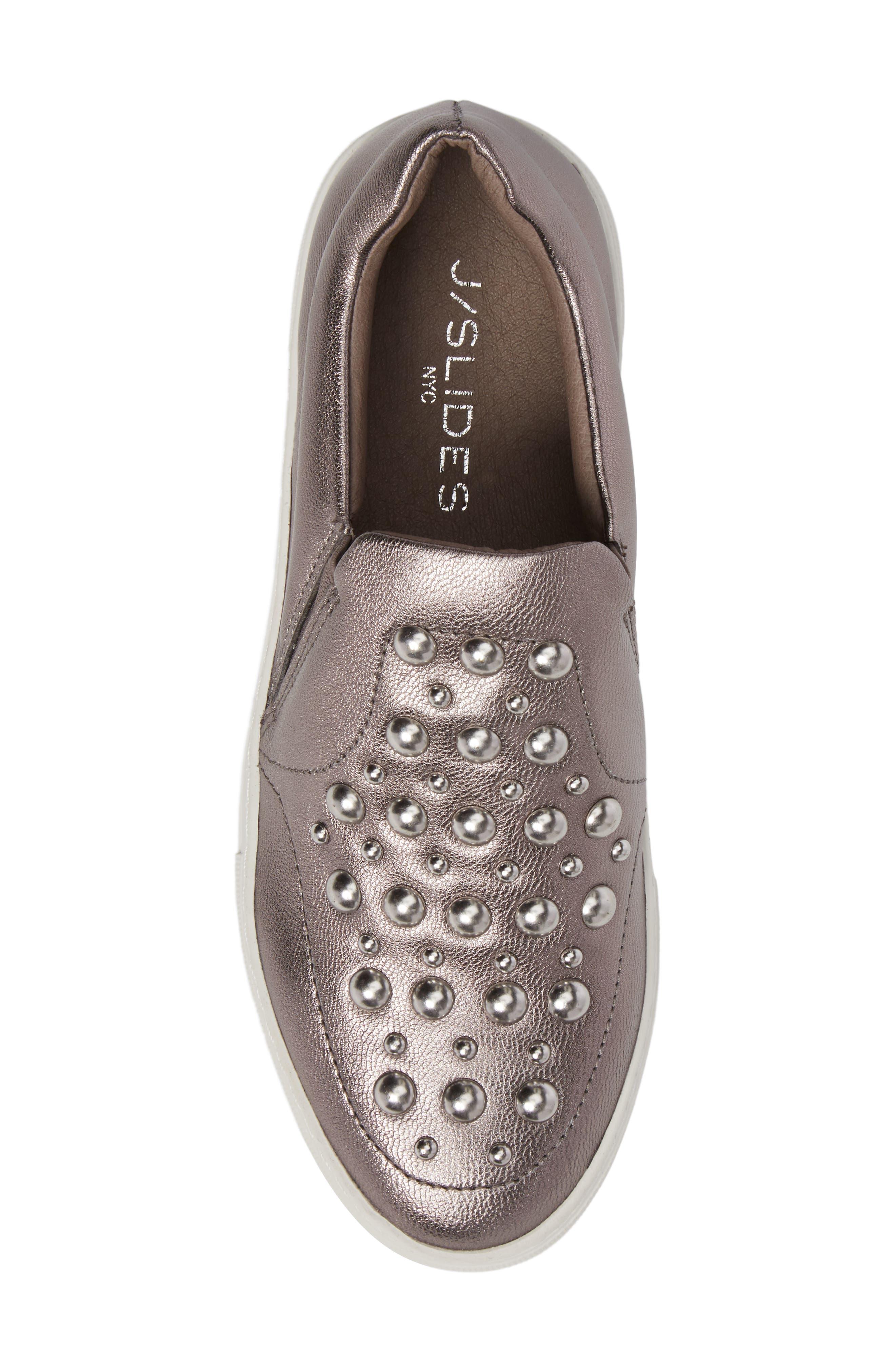 Atom Slip-On Platform Sneaker,                             Alternate thumbnail 5, color,                             Pewter Leather