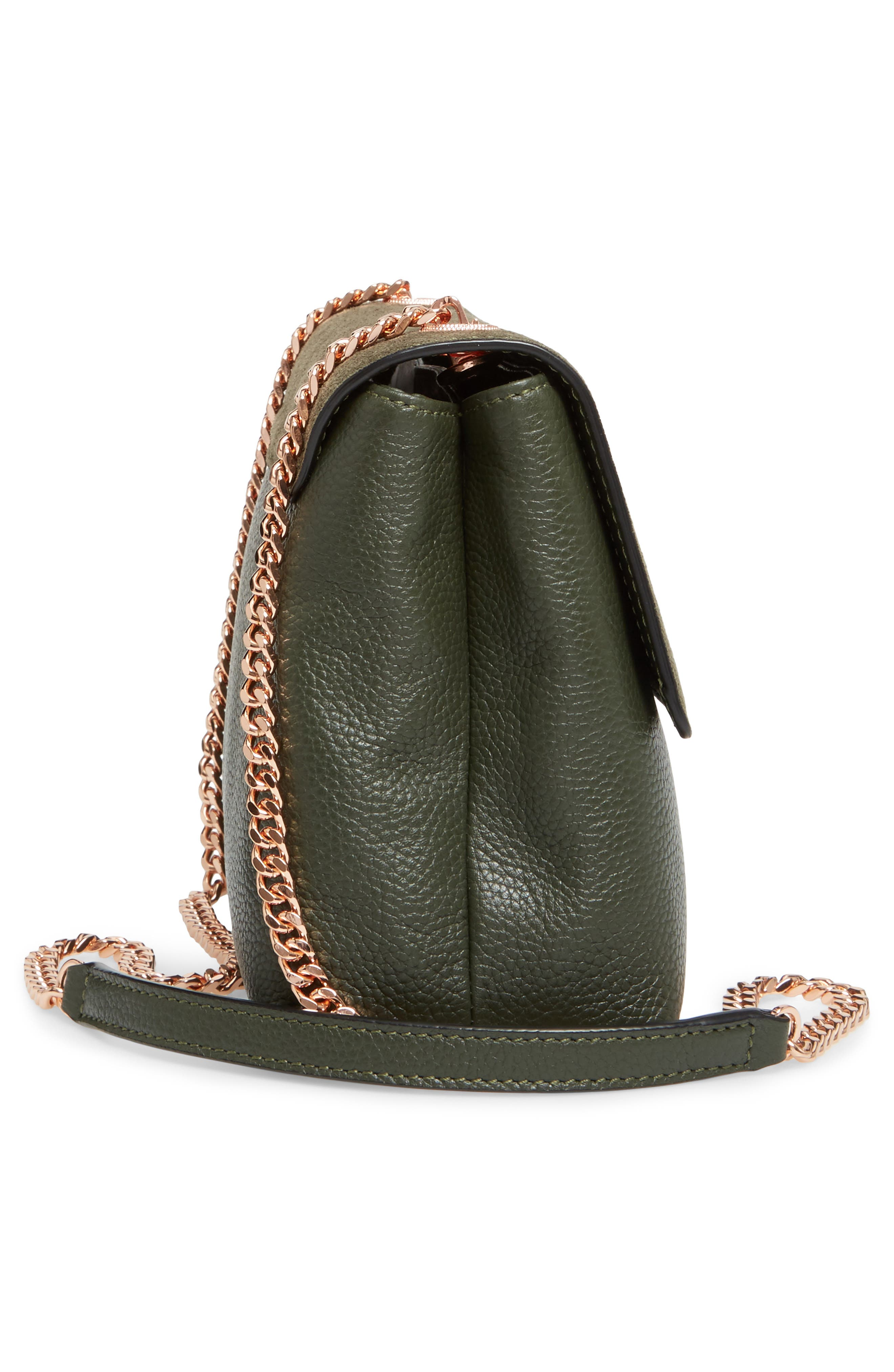 Sorikai Leather & Suede Crossbody Bag,                             Alternate thumbnail 4, color,                             Khaki