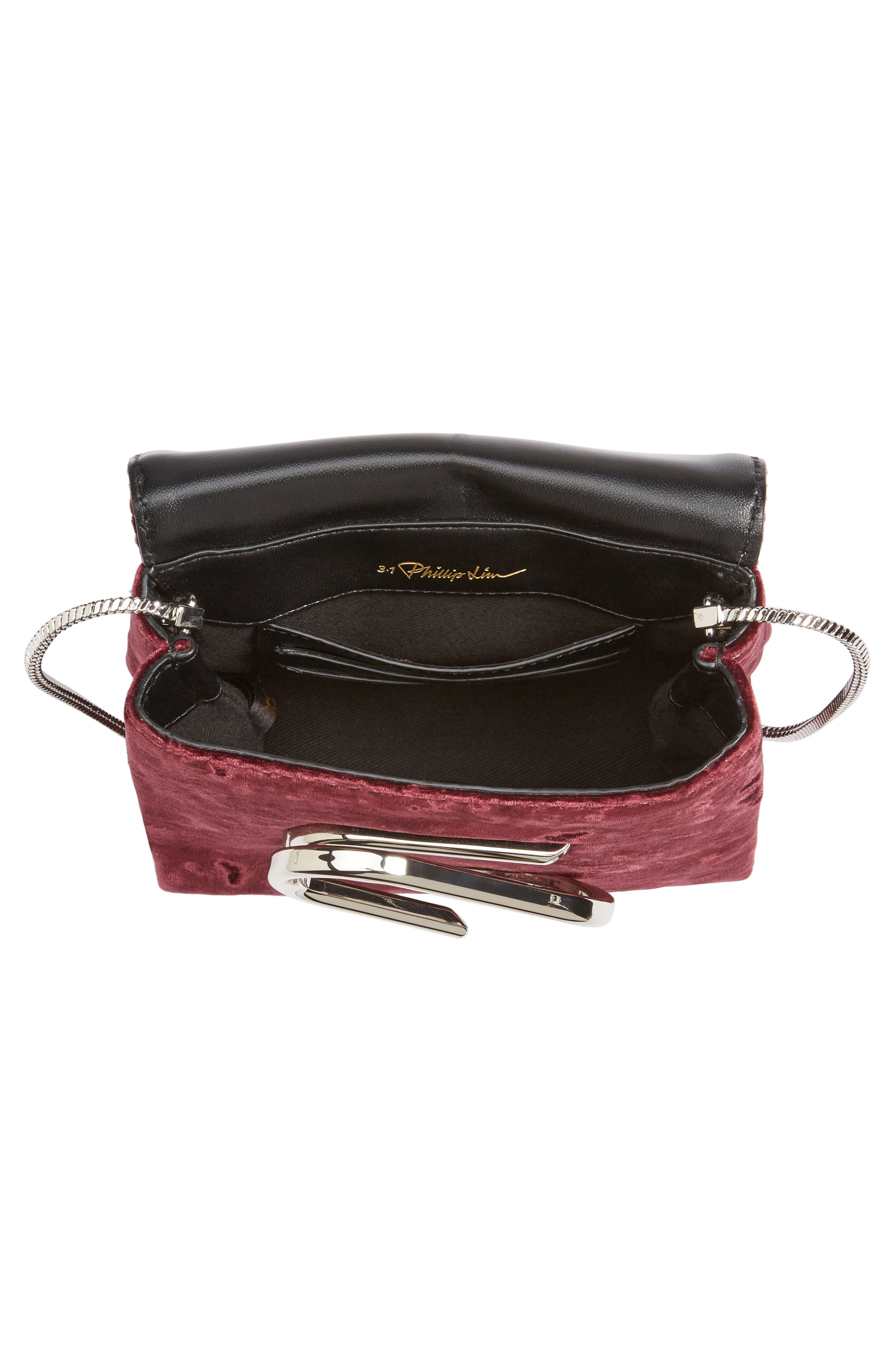 Micro Alix Velvet Crossbody Bag,                             Alternate thumbnail 4, color,                             Syrah