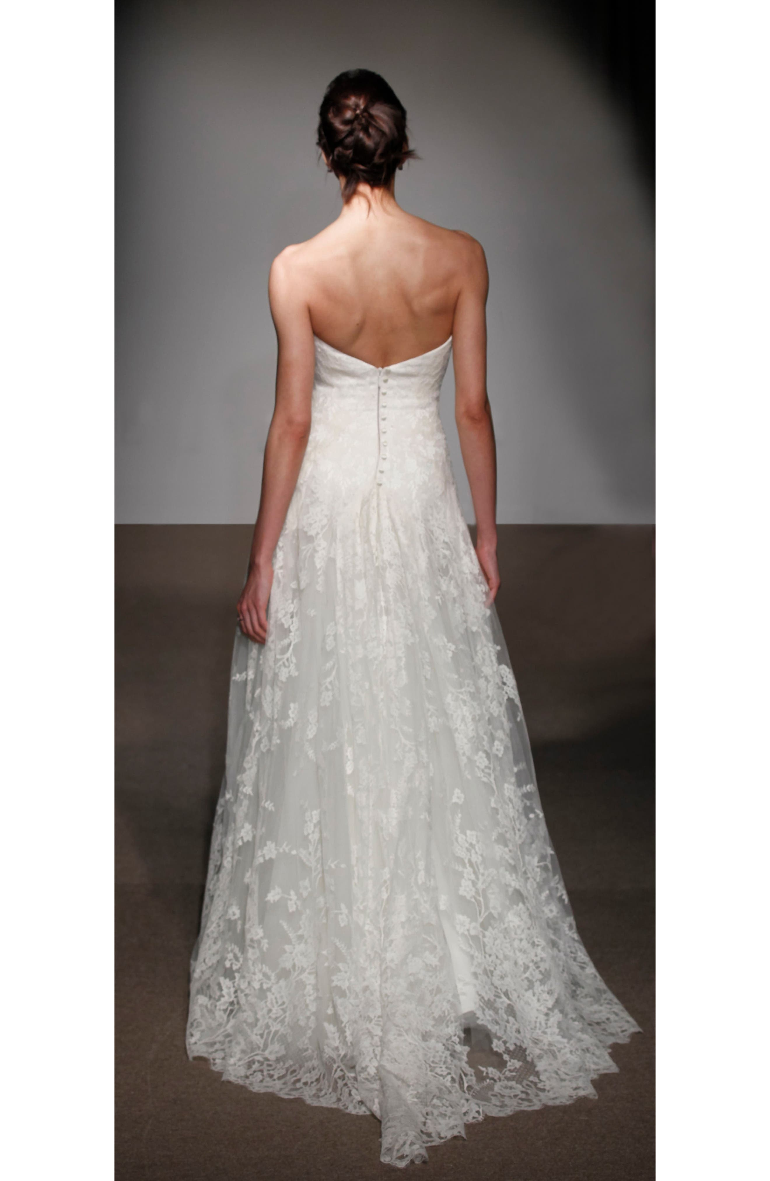 Alternate Image 2  - Anna Maier Couture Liliane Strapless Lace Gown (Regular & Plus Size)