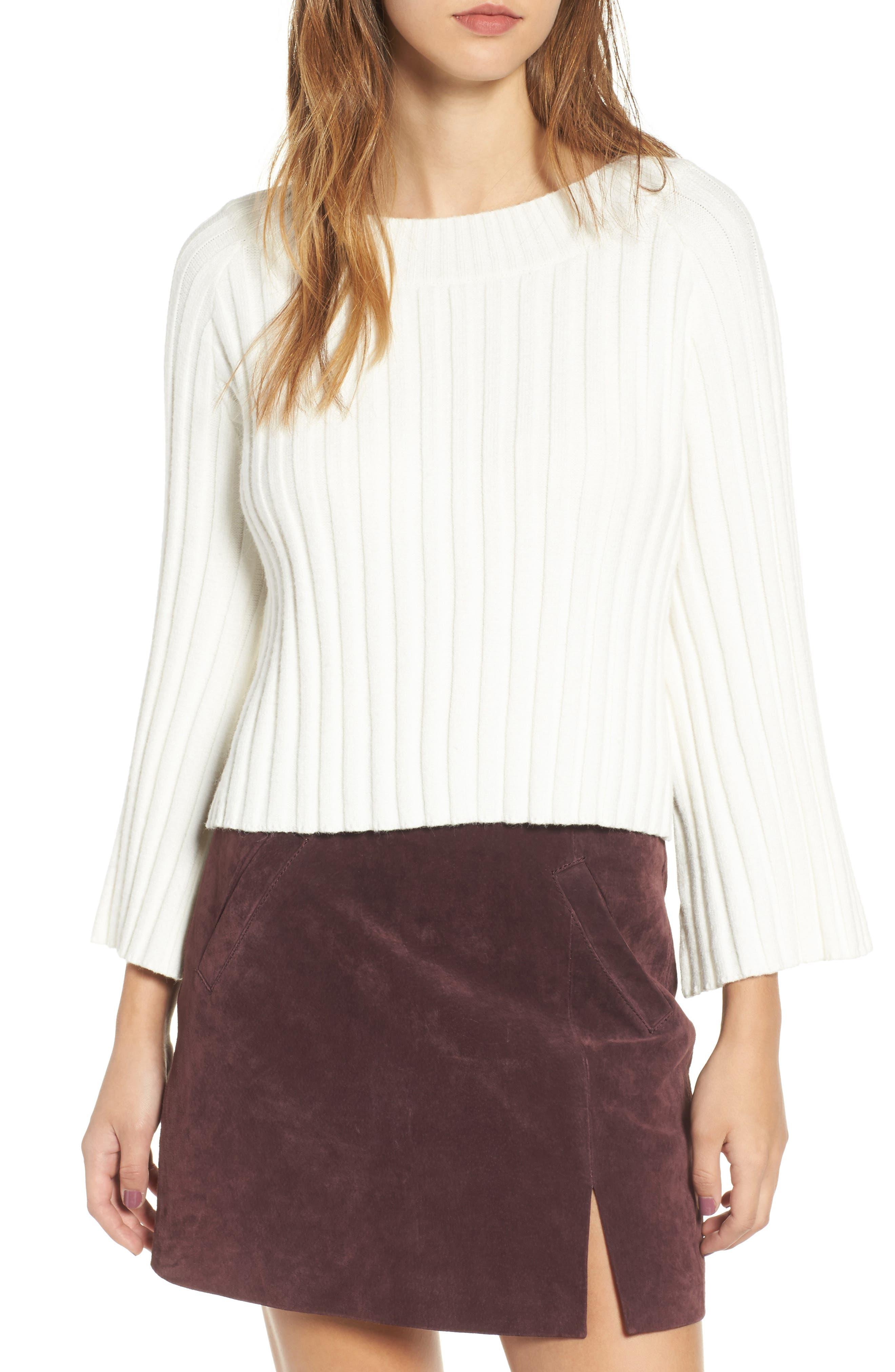 J.O.A. Crop Ribbed Sweater