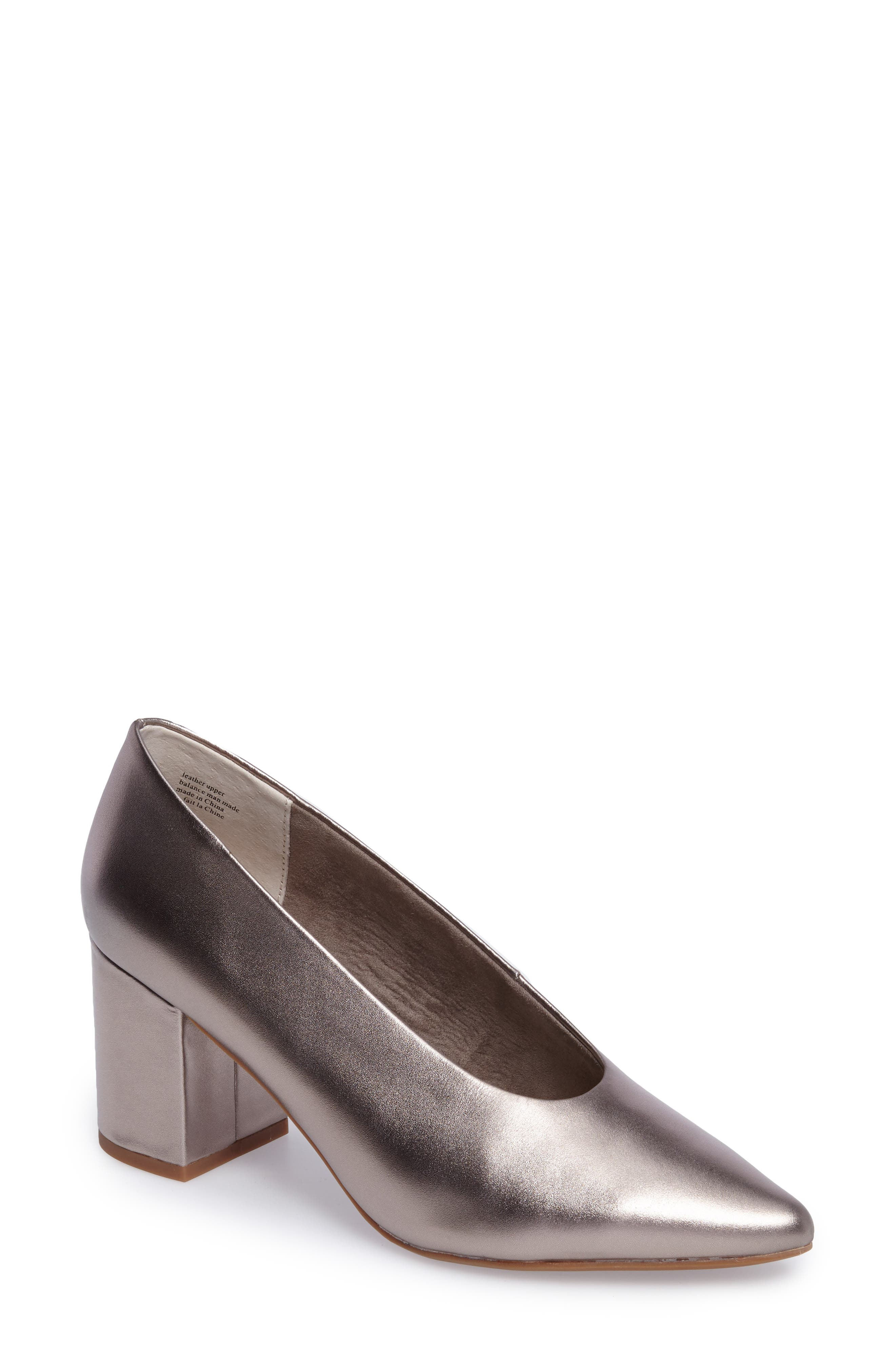 Rehearse Pointy Toe Pump,                         Main,                         color, Pewter Leather