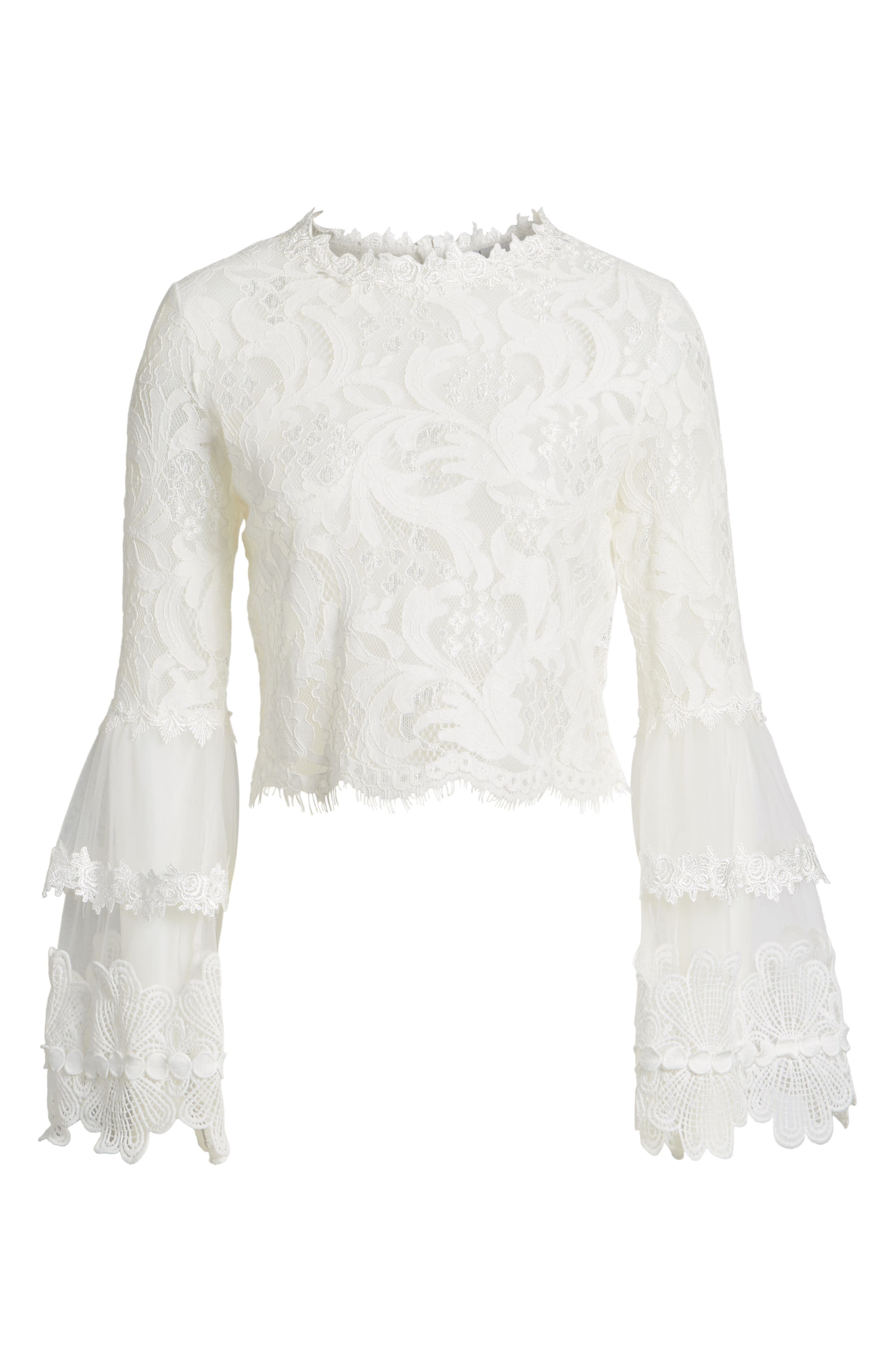 Chancellor Lace Top,                             Alternate thumbnail 5, color,                             White