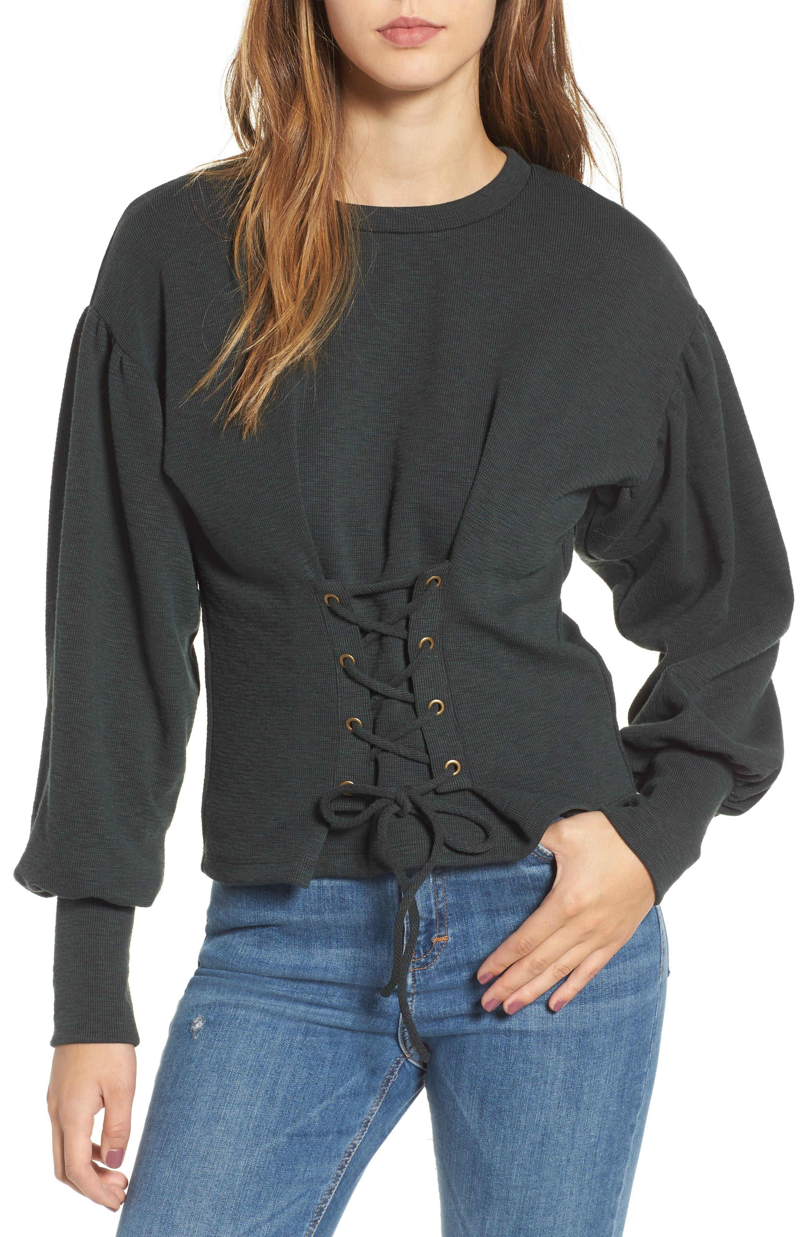 Main Image - June & Hudson Corset Sweatshirt