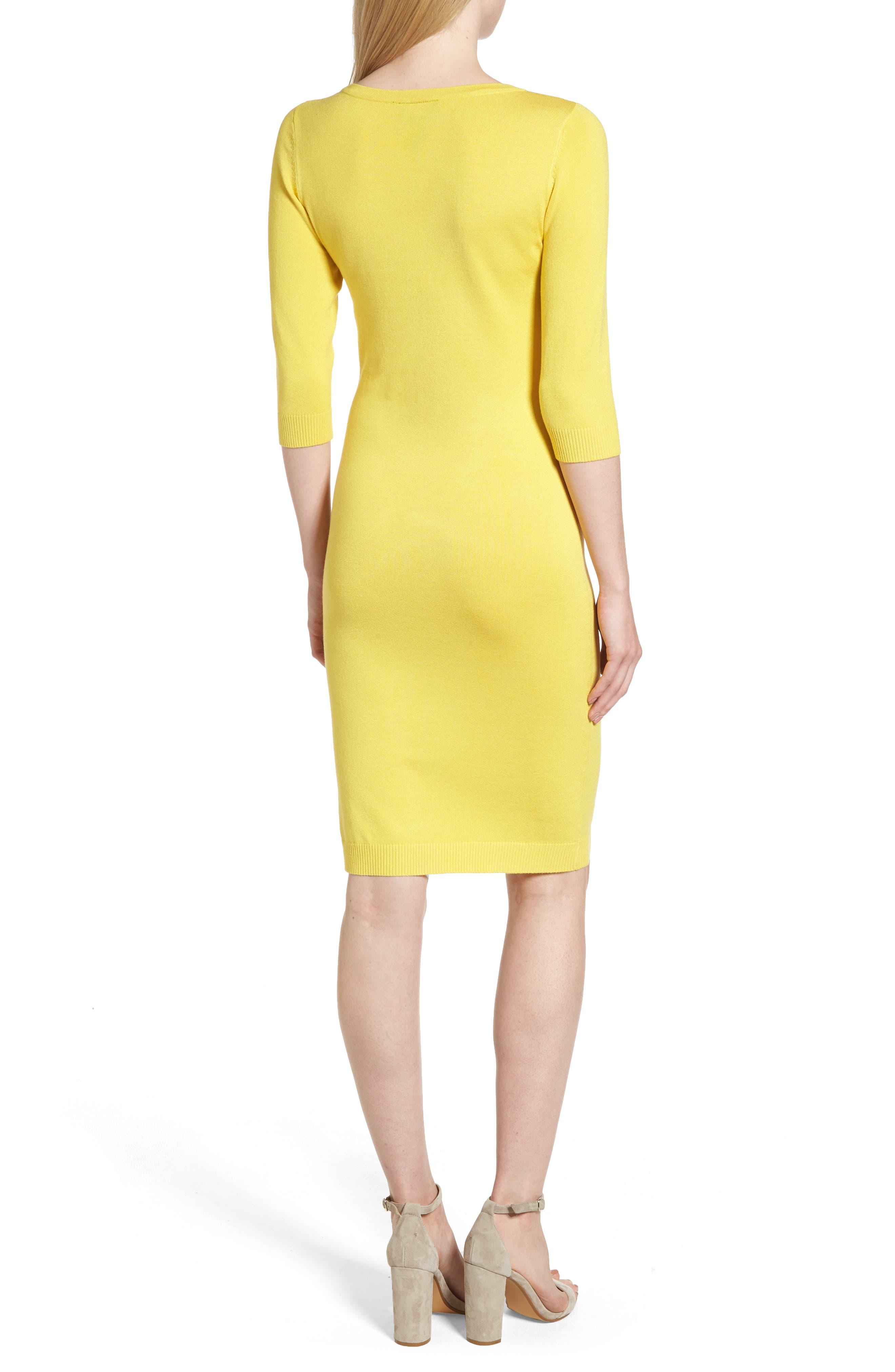 Elbow Sleeve Sweater Dress,                             Alternate thumbnail 2, color,                             Yellow
