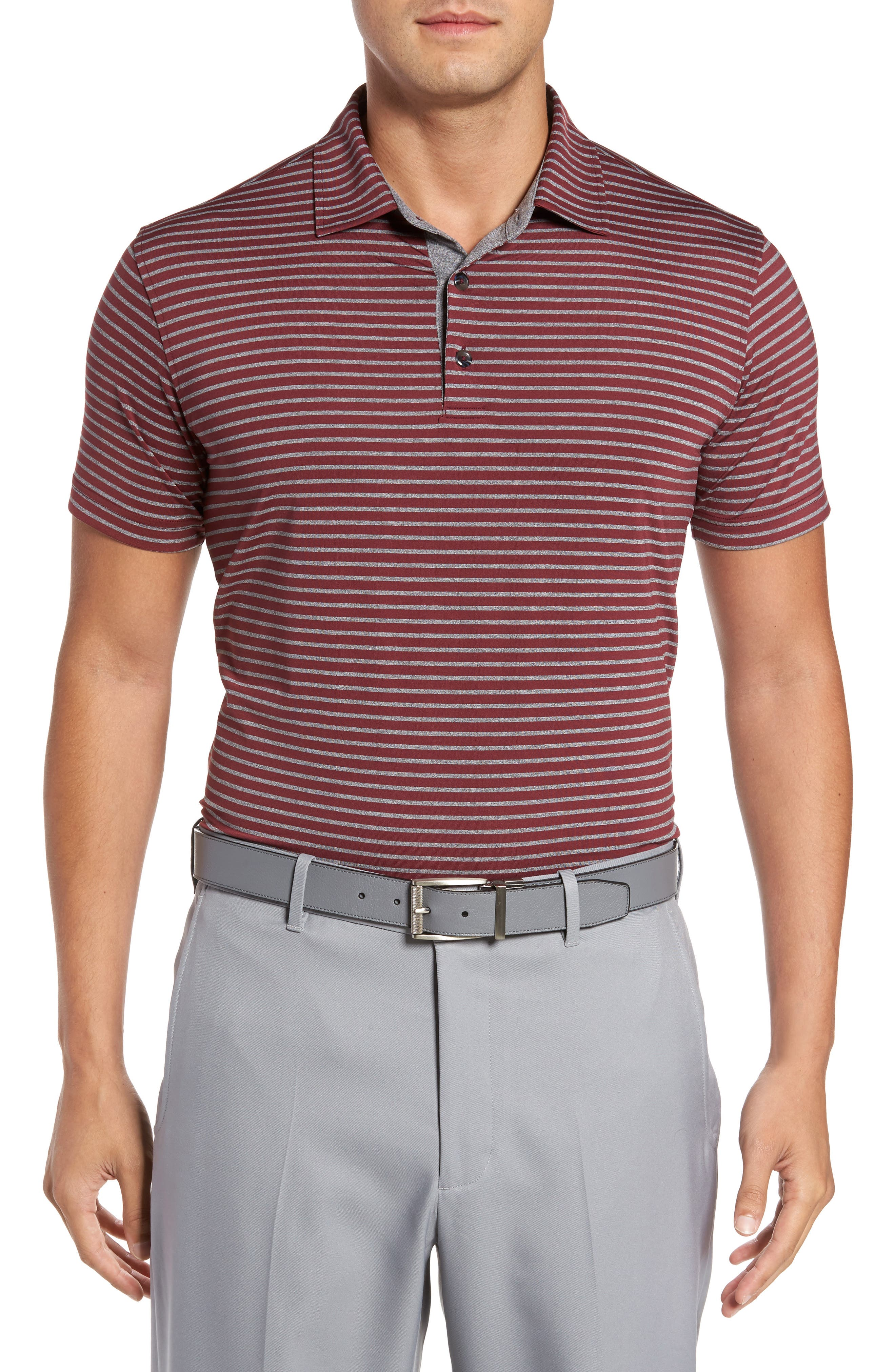 Control Stripe Jersey Polo,                         Main,                         color, Oxblood