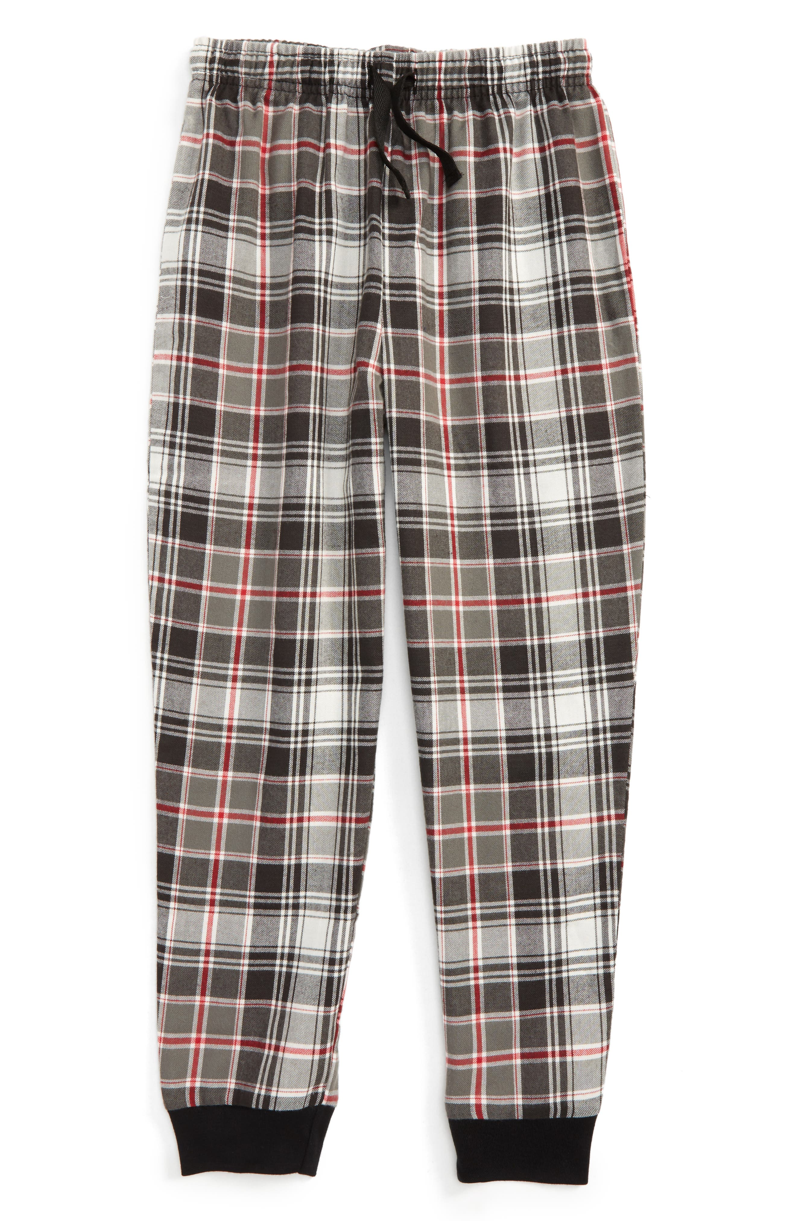 Flannel Jogger Pants,                             Main thumbnail 1, color,                             Black- Red