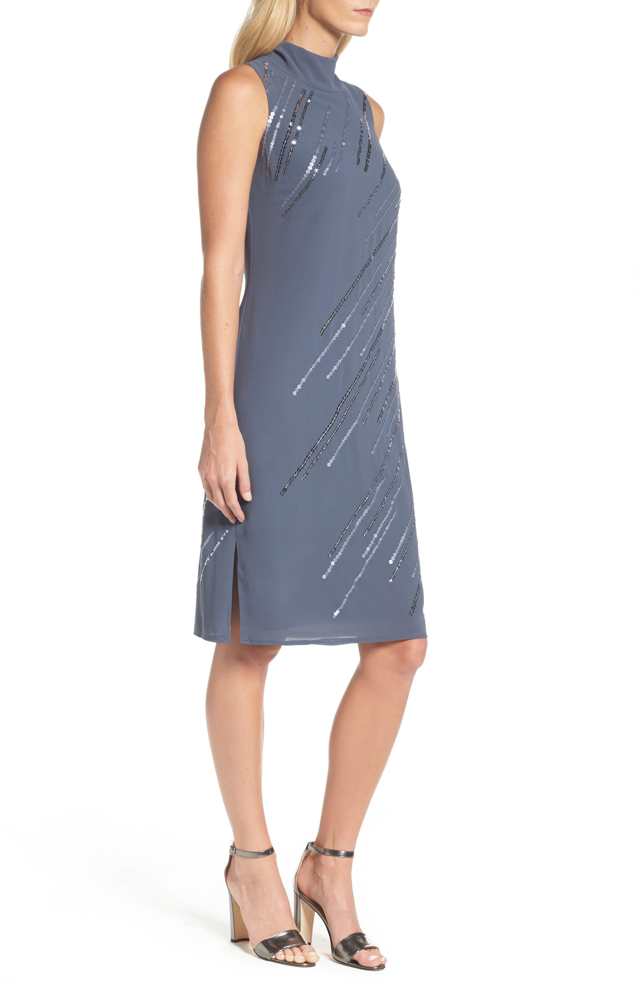 Sequin A-Line Dress,                             Alternate thumbnail 3, color,                             Typhoon