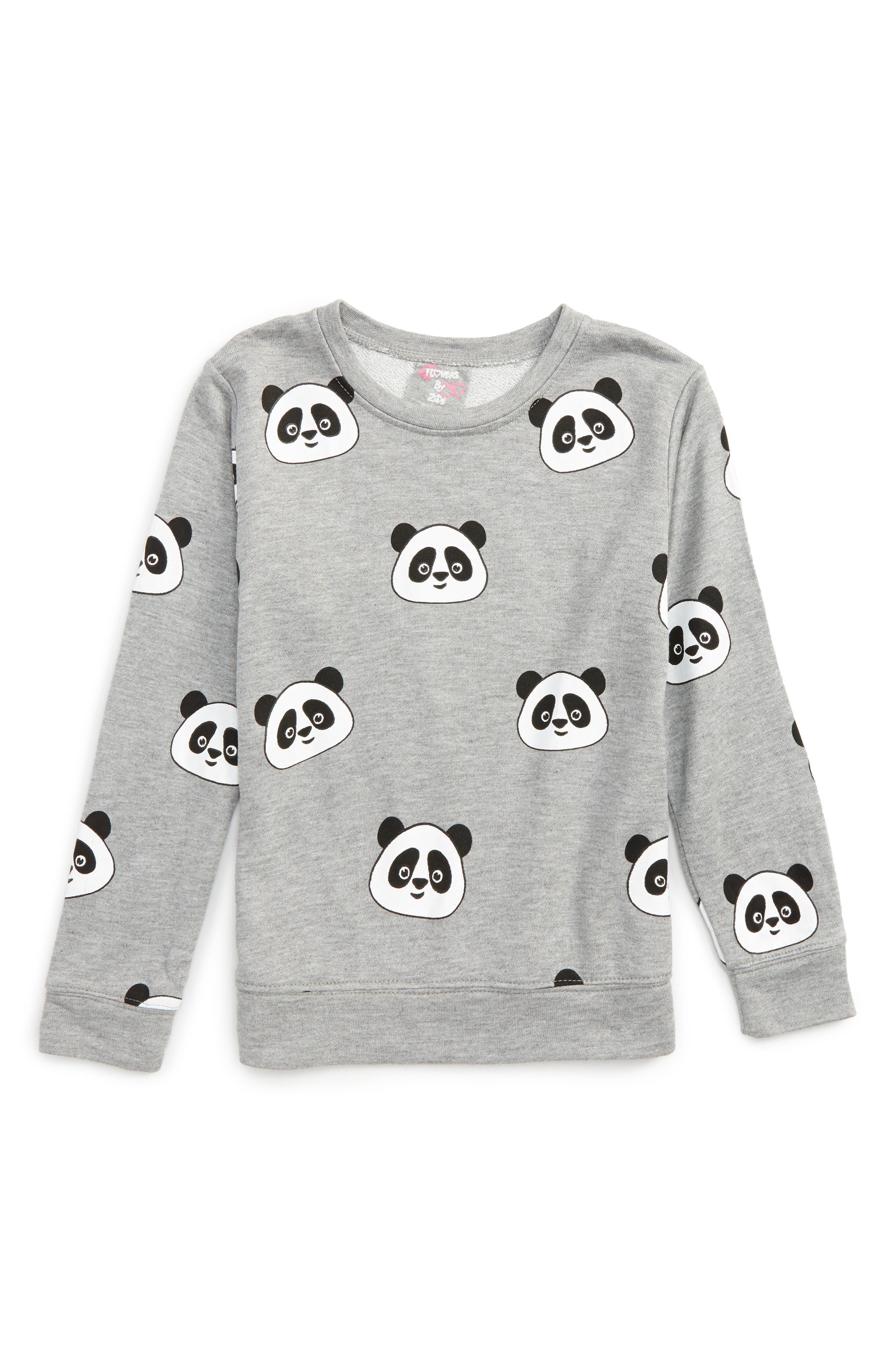 Main Image - Flowers by Zoe All Over Panda Sweatshirt (Little Girls & Big Girls)