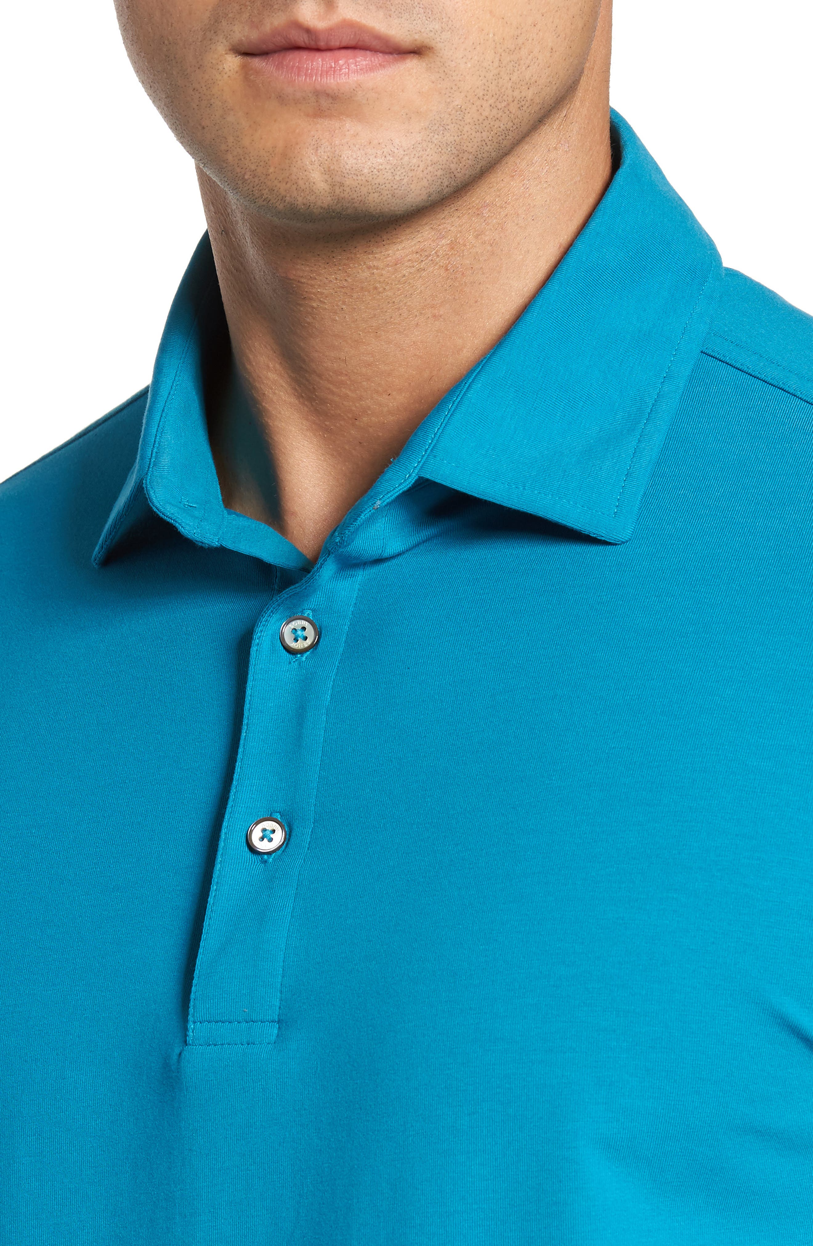 'Liquid Cotton' Long Sleeve Jersey Polo,                             Alternate thumbnail 4, color,                             Santorini
