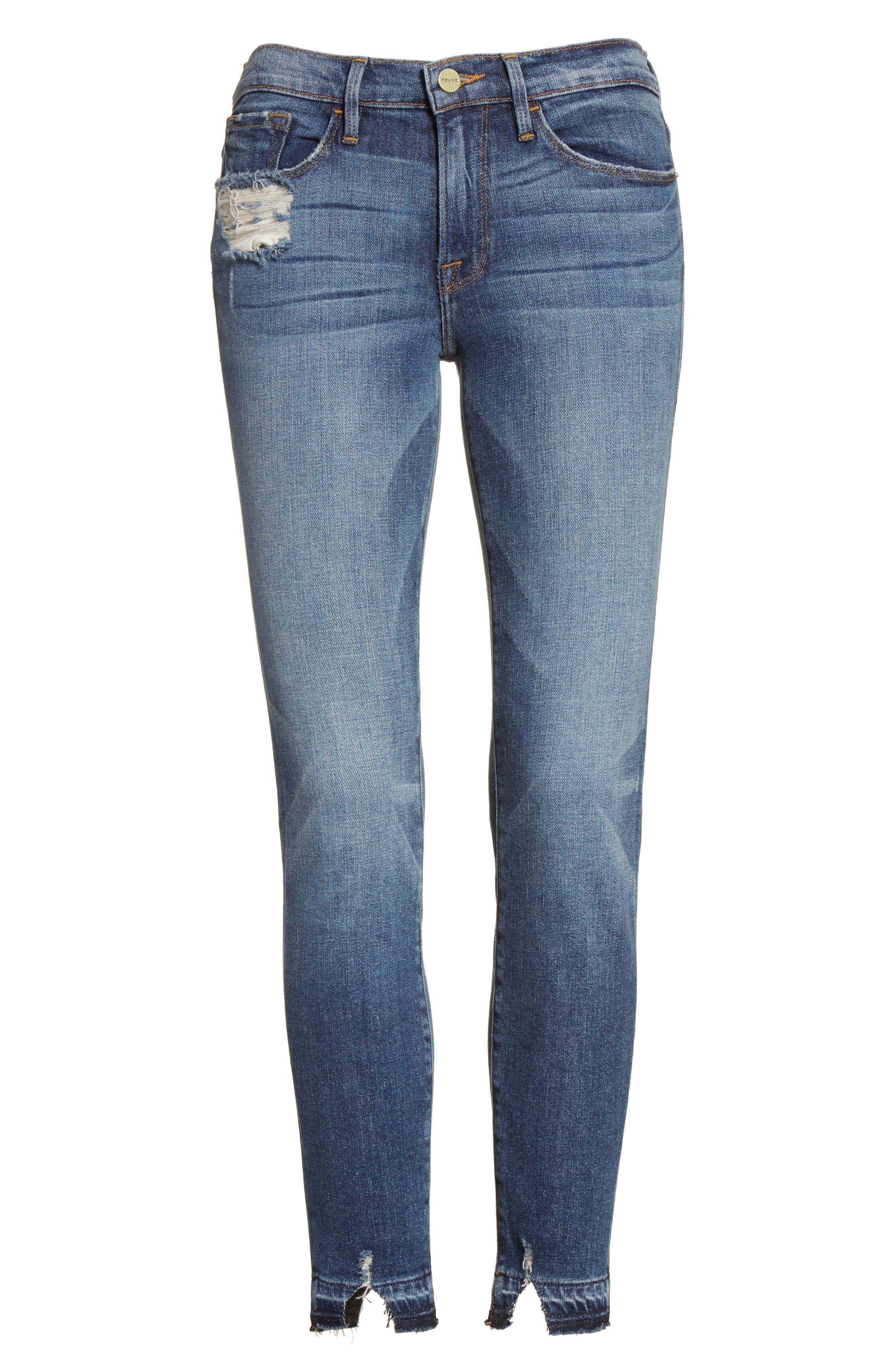 Alternate Image 7  - FRAME Le Skinny de Jeanne Crop Release Hem Jeans (Roberts) (Nordstrom Exclusive)