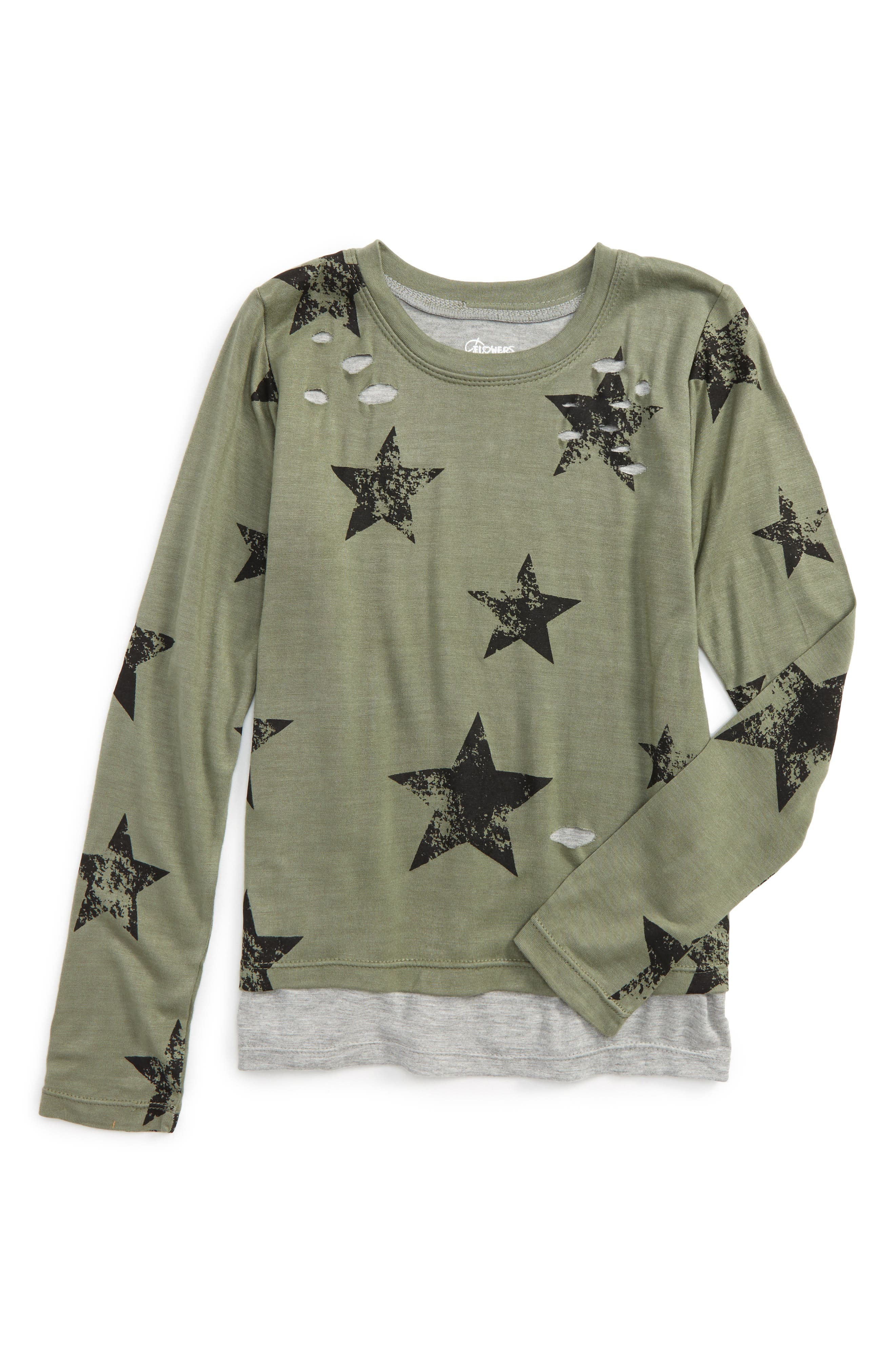 Alternate Image 1 Selected - Flowers by Zoe Star Layered Top (Little Girls & Big Girls)
