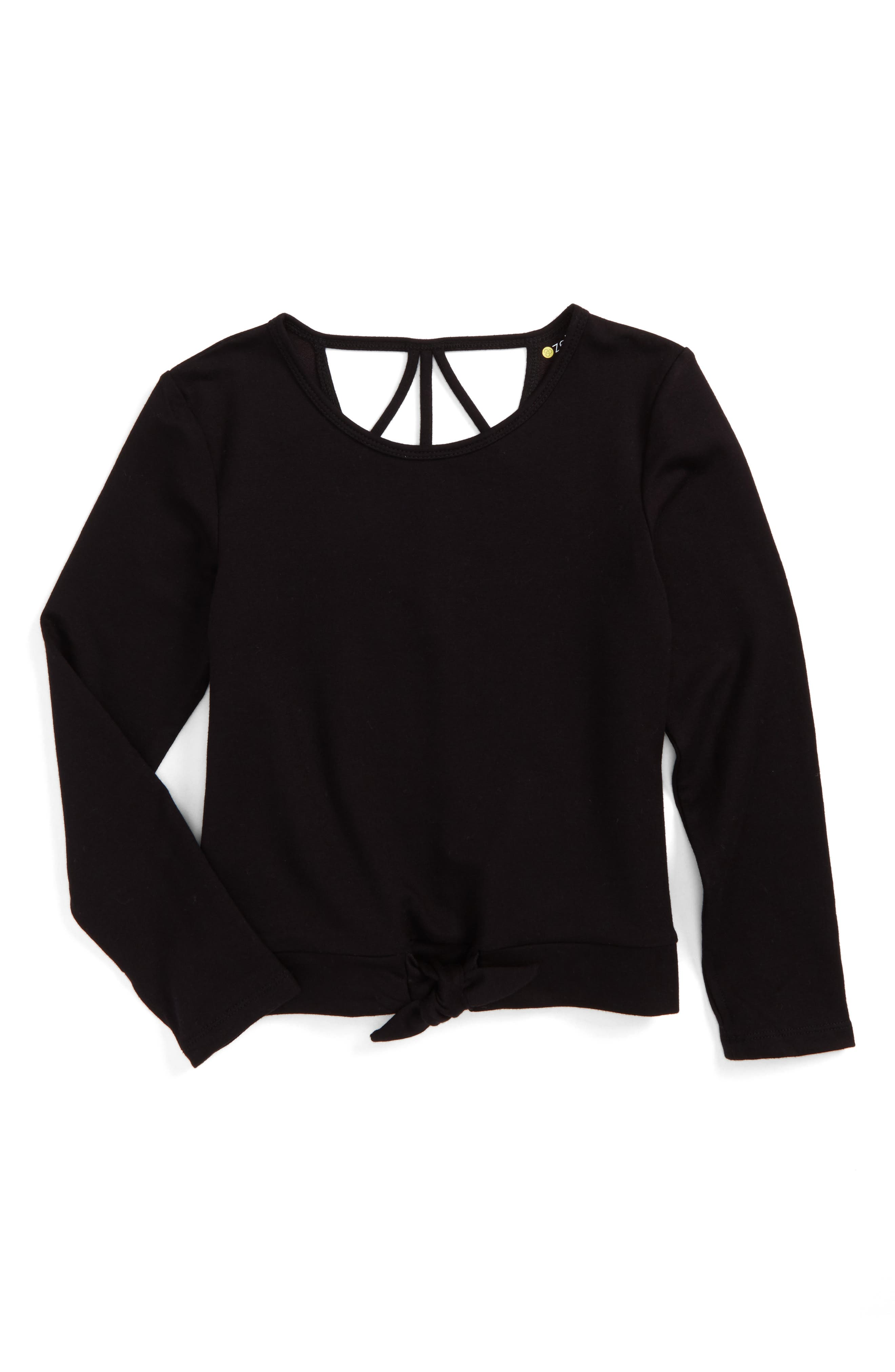 Tie Front Terry Top,                             Main thumbnail 1, color,                             Black