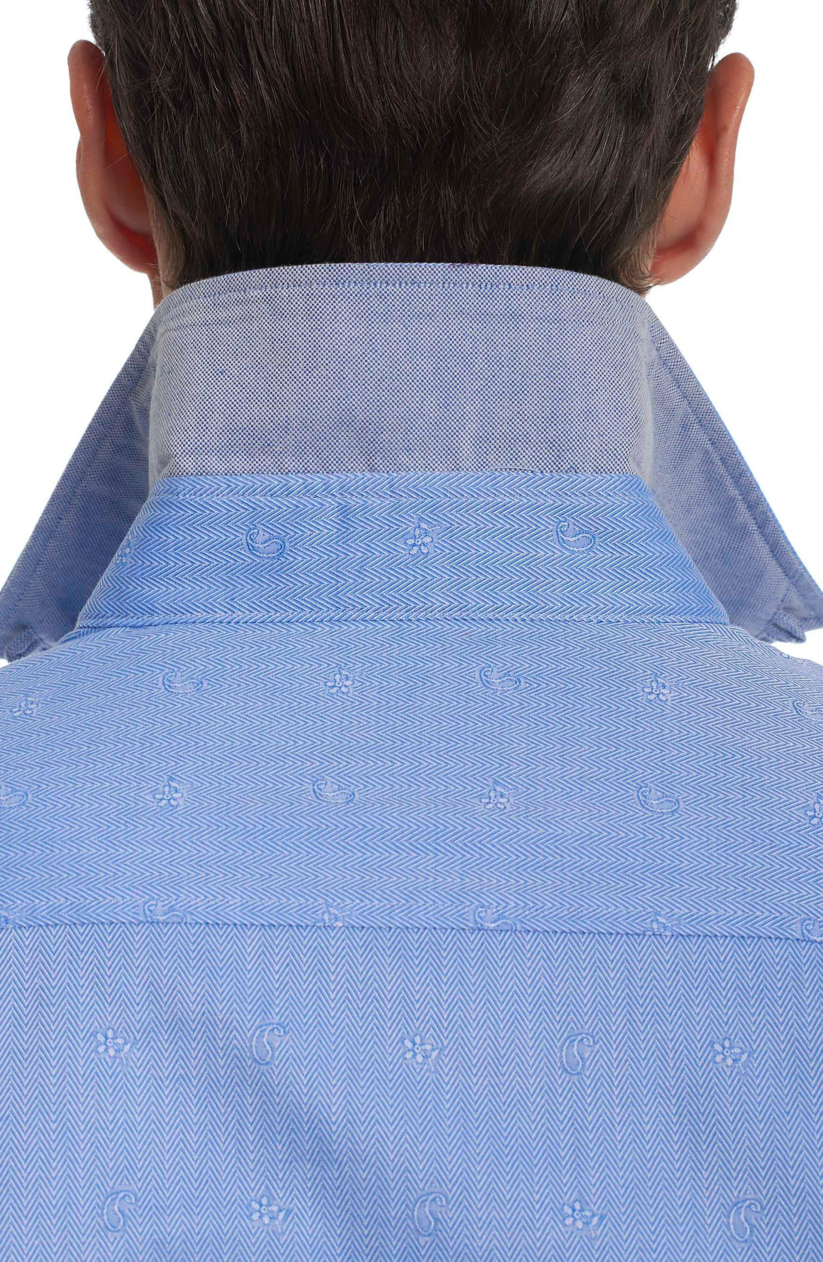Taner Tailored Fit Dobby Herringbone Sport Shirt,                             Alternate thumbnail 3, color,                             Blue