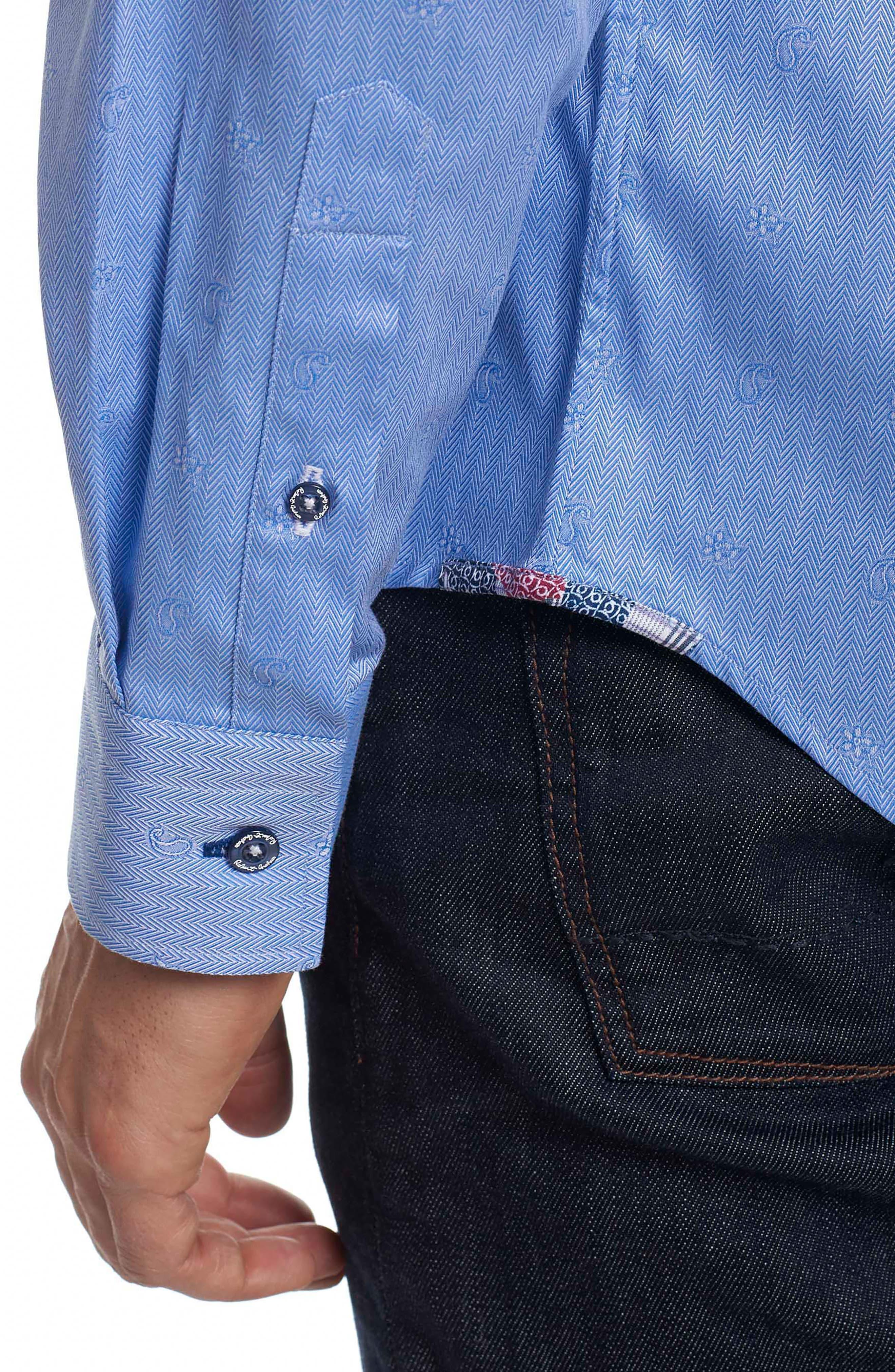 Taner Tailored Fit Dobby Herringbone Sport Shirt,                             Alternate thumbnail 6, color,                             Blue