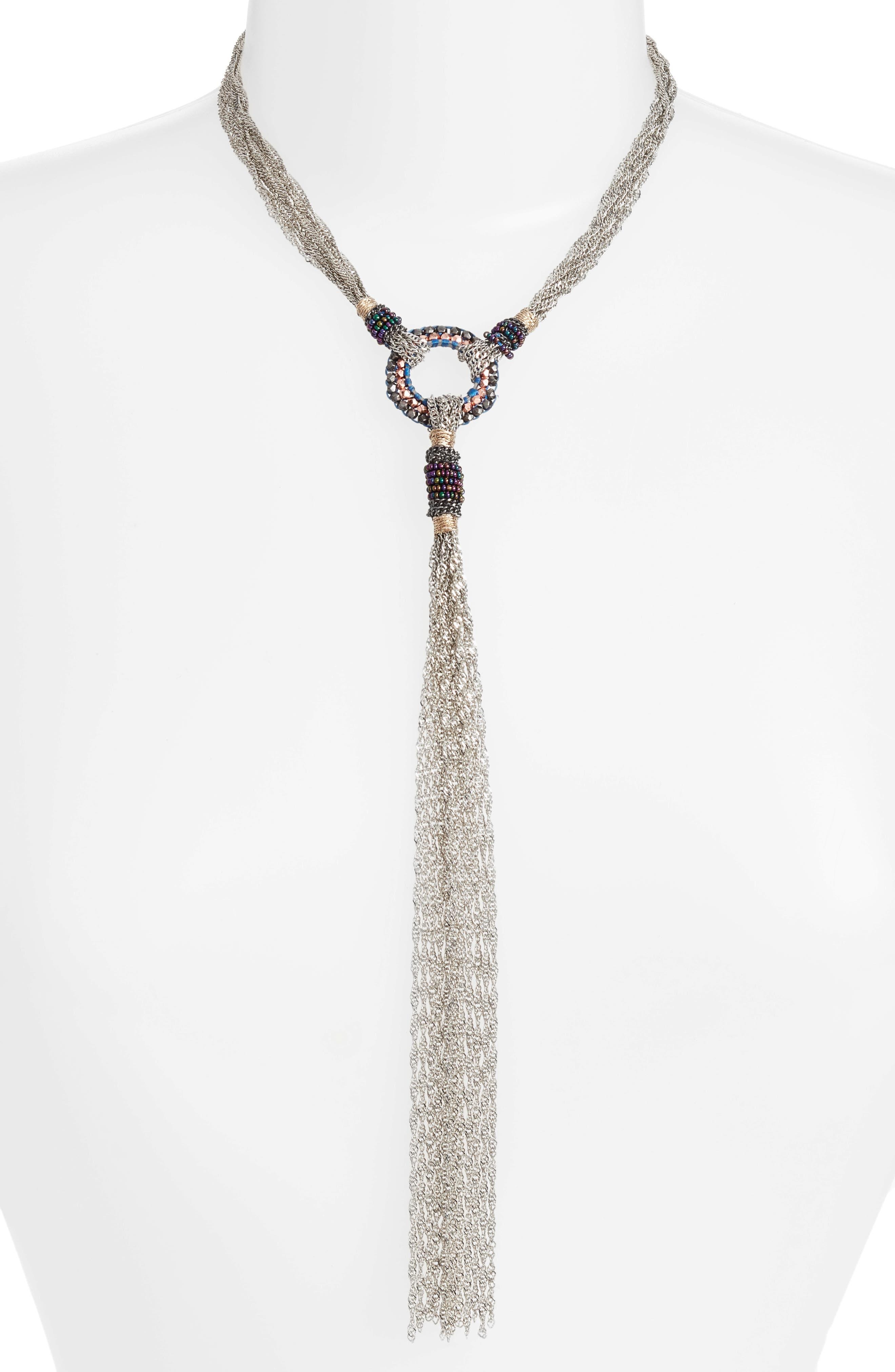 Chain Y Necklace,                         Main,                         color, Gunmetal
