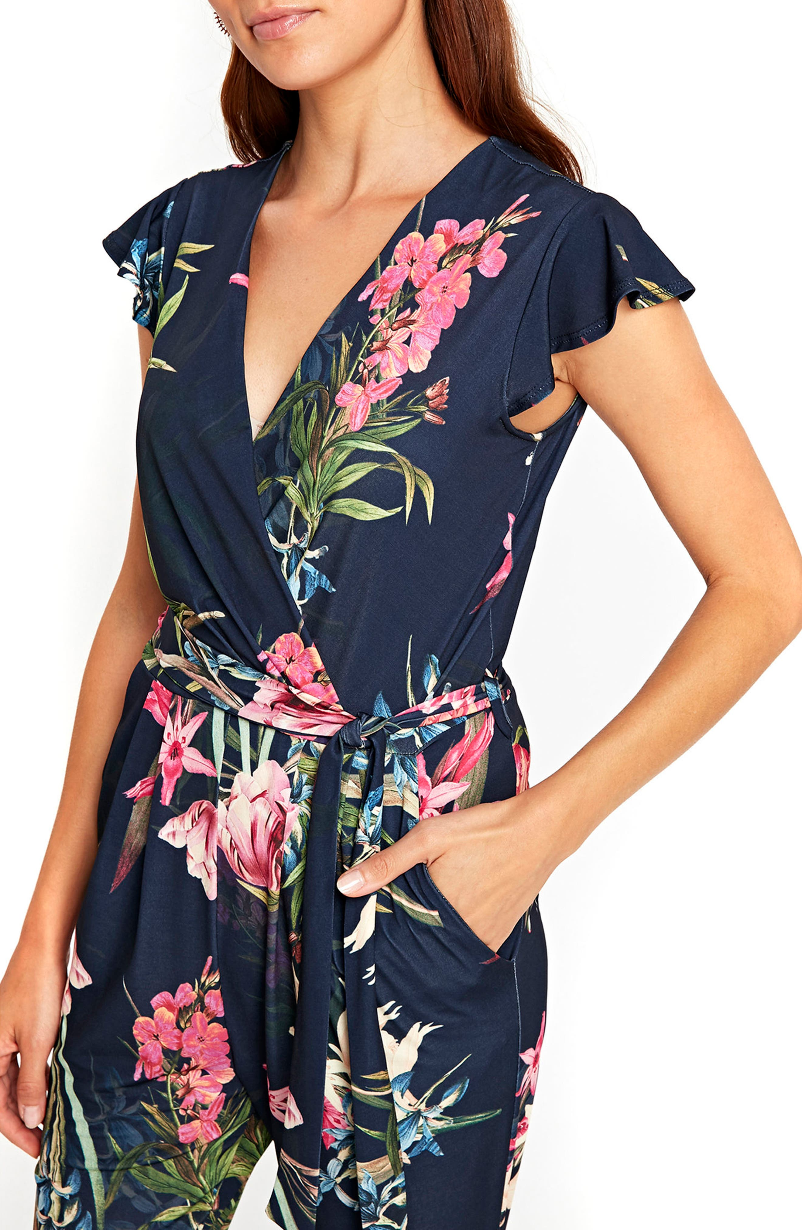 Tulip Blossom Jumpsuit,                             Alternate thumbnail 4, color,                             Navy