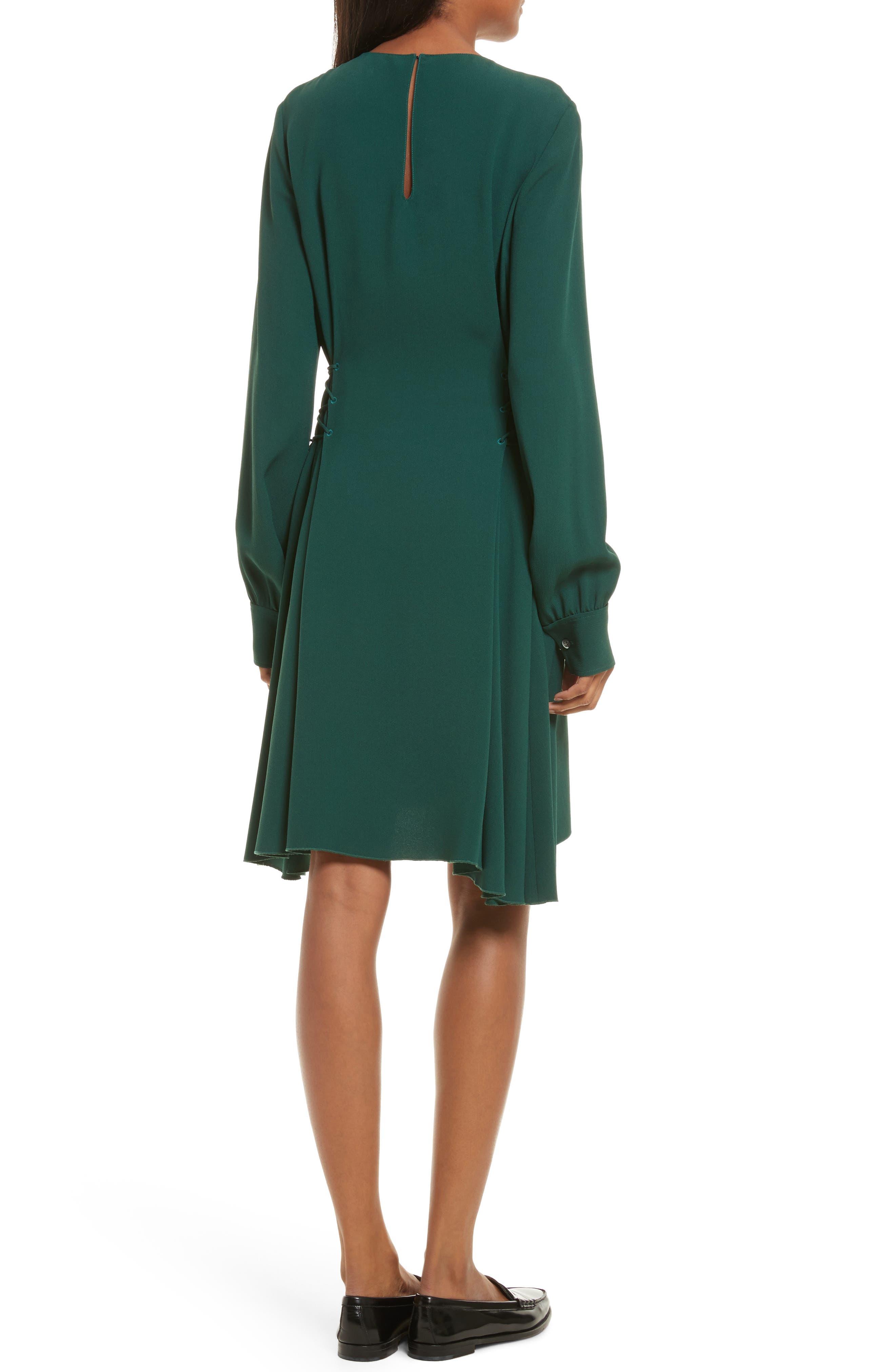 Kensington Lace-Up A-Line Dress,                             Alternate thumbnail 2, color,                             Bright Hunter