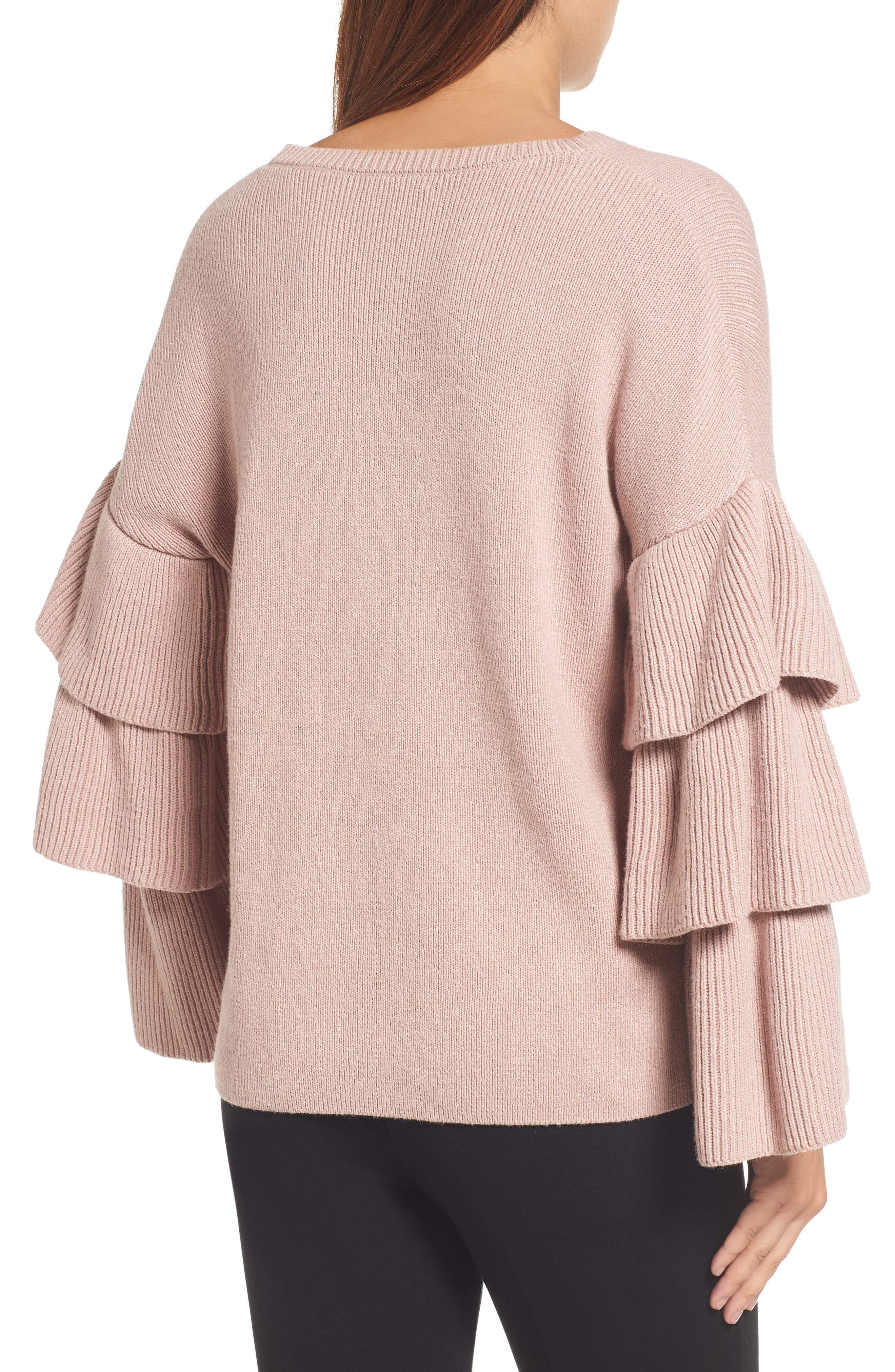 Ruffle Sleeve Sweater,                             Alternate thumbnail 5, color,                             Pink Adobe