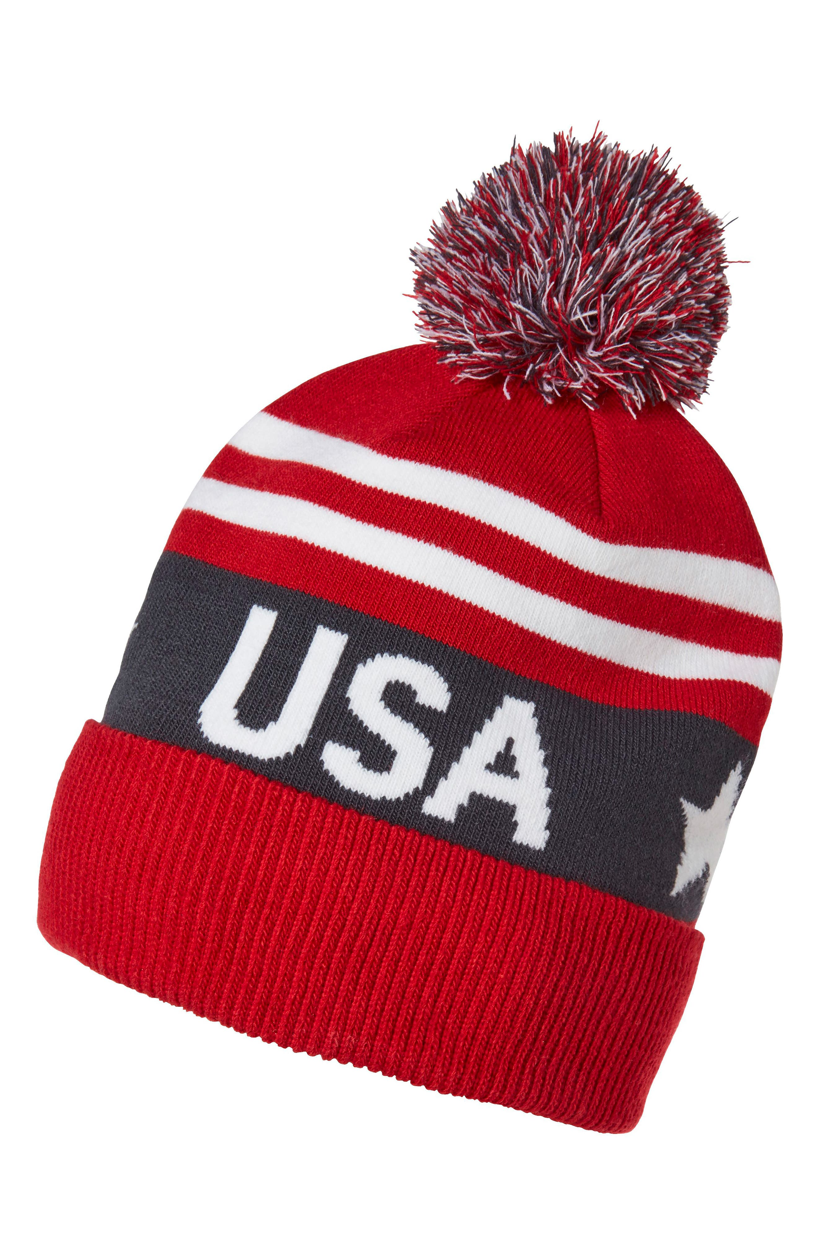 Going For Gold Knit Cap & Mittens Gift Set,                             Alternate thumbnail 2, color,                             Olympian Blue/ Usa