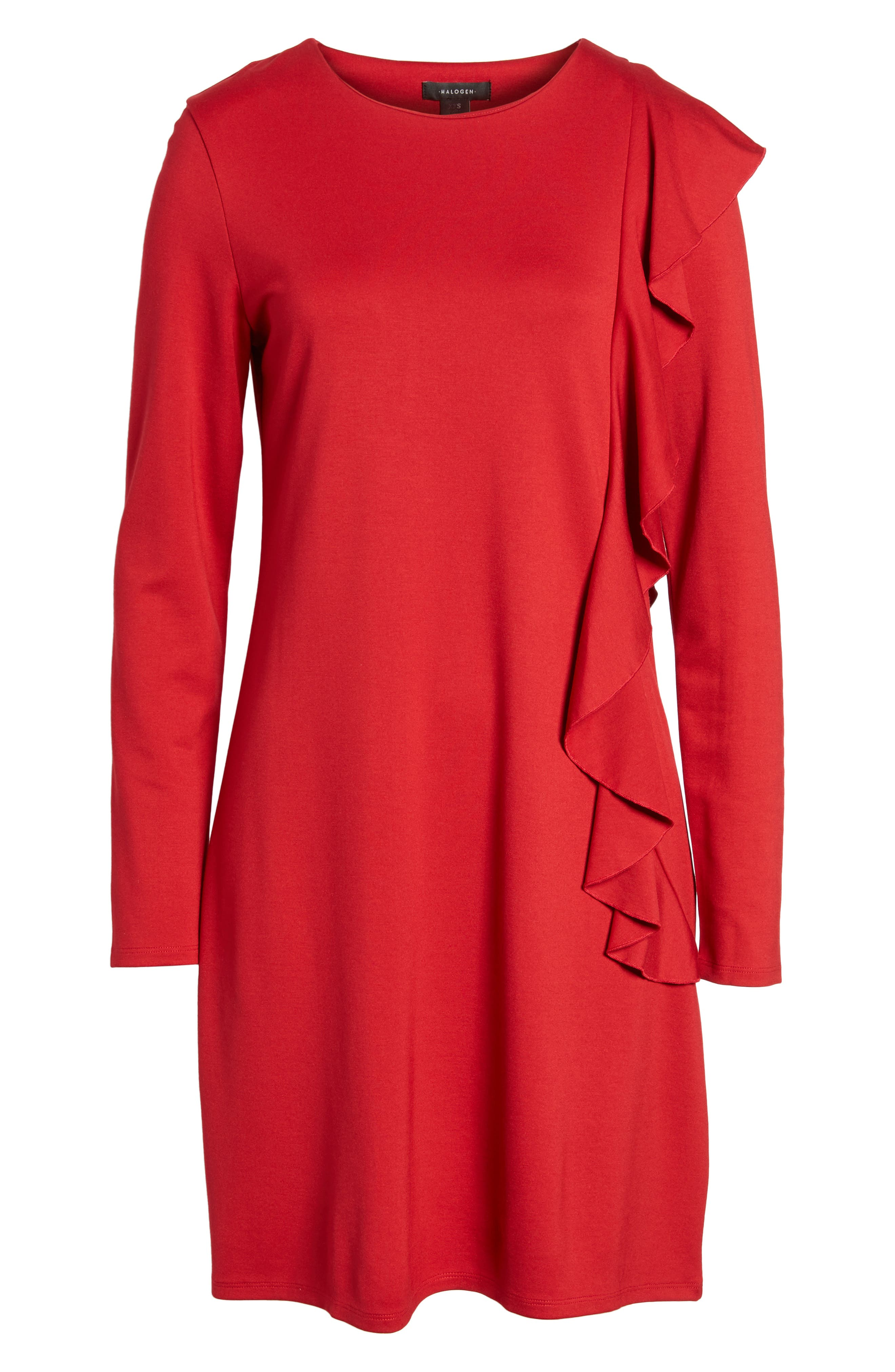 Halogen Ruffle Shift Dress,                             Alternate thumbnail 6, color,                             Red Chili