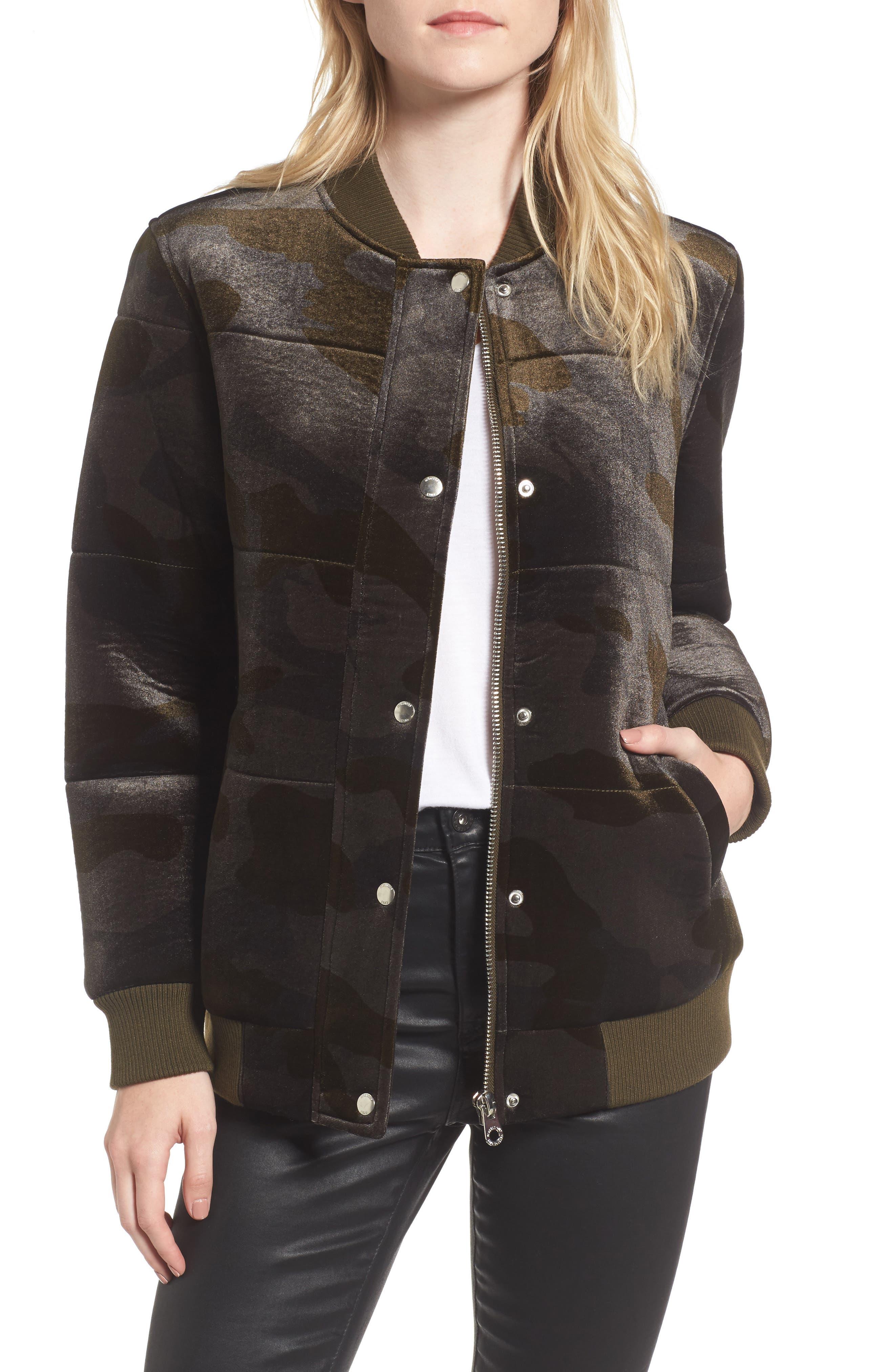 Velvet Bomber Jacket,                         Main,                         color, Camo